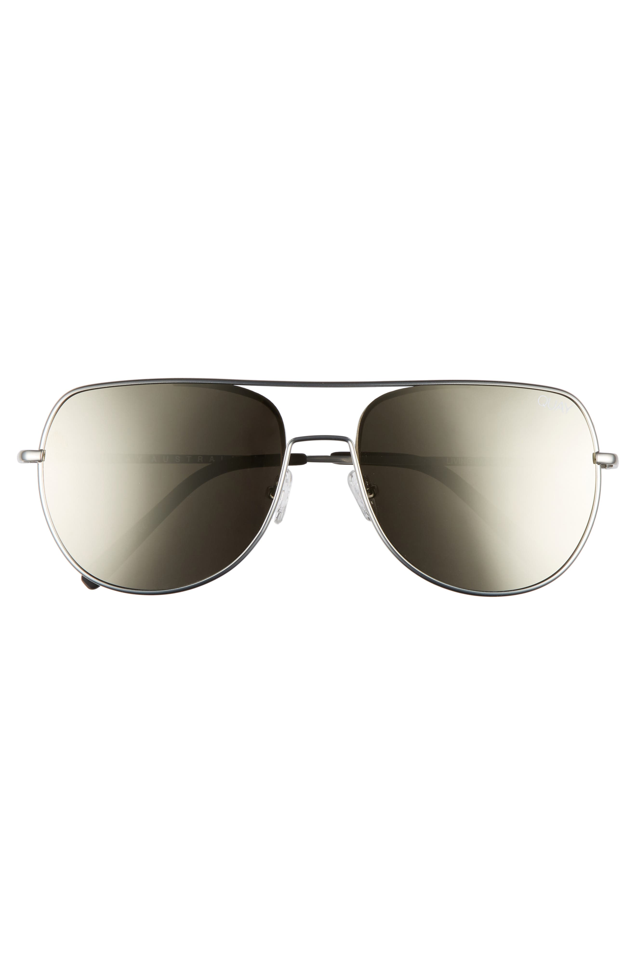 Living Large 61mm Aviator Sunglasses,                             Alternate thumbnail 2, color,                             Silver/ Silver