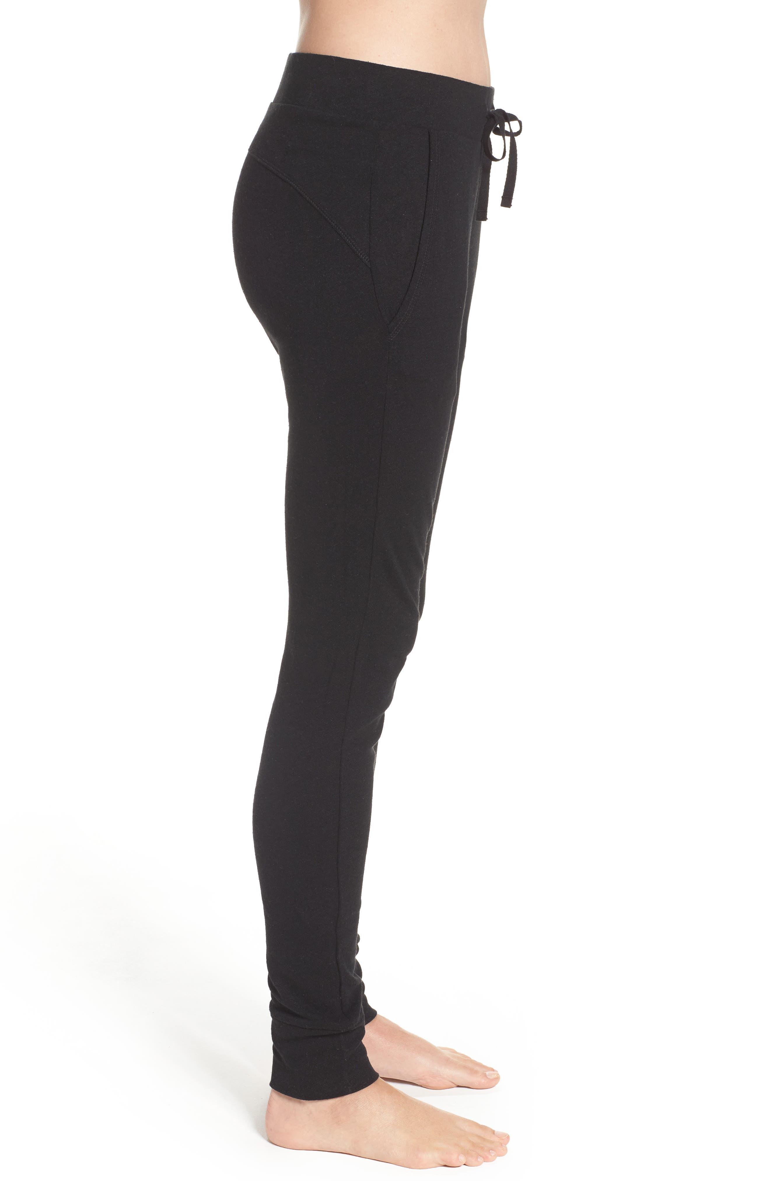 Clementine Cotton & Silk Pajama Pants,                             Alternate thumbnail 3, color,                             Black