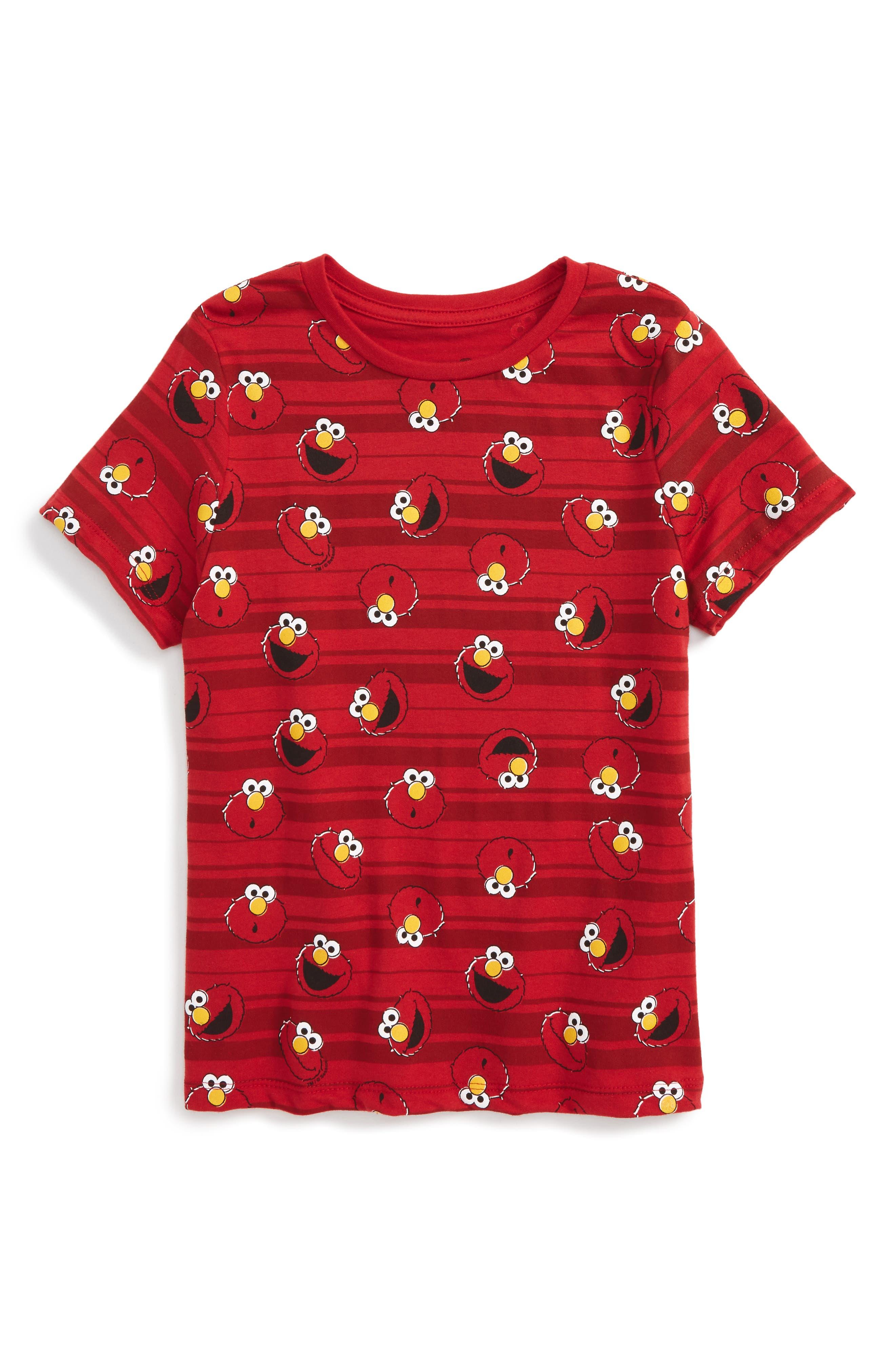 Elmo Stripes T-Shirt,                         Main,                         color, Red