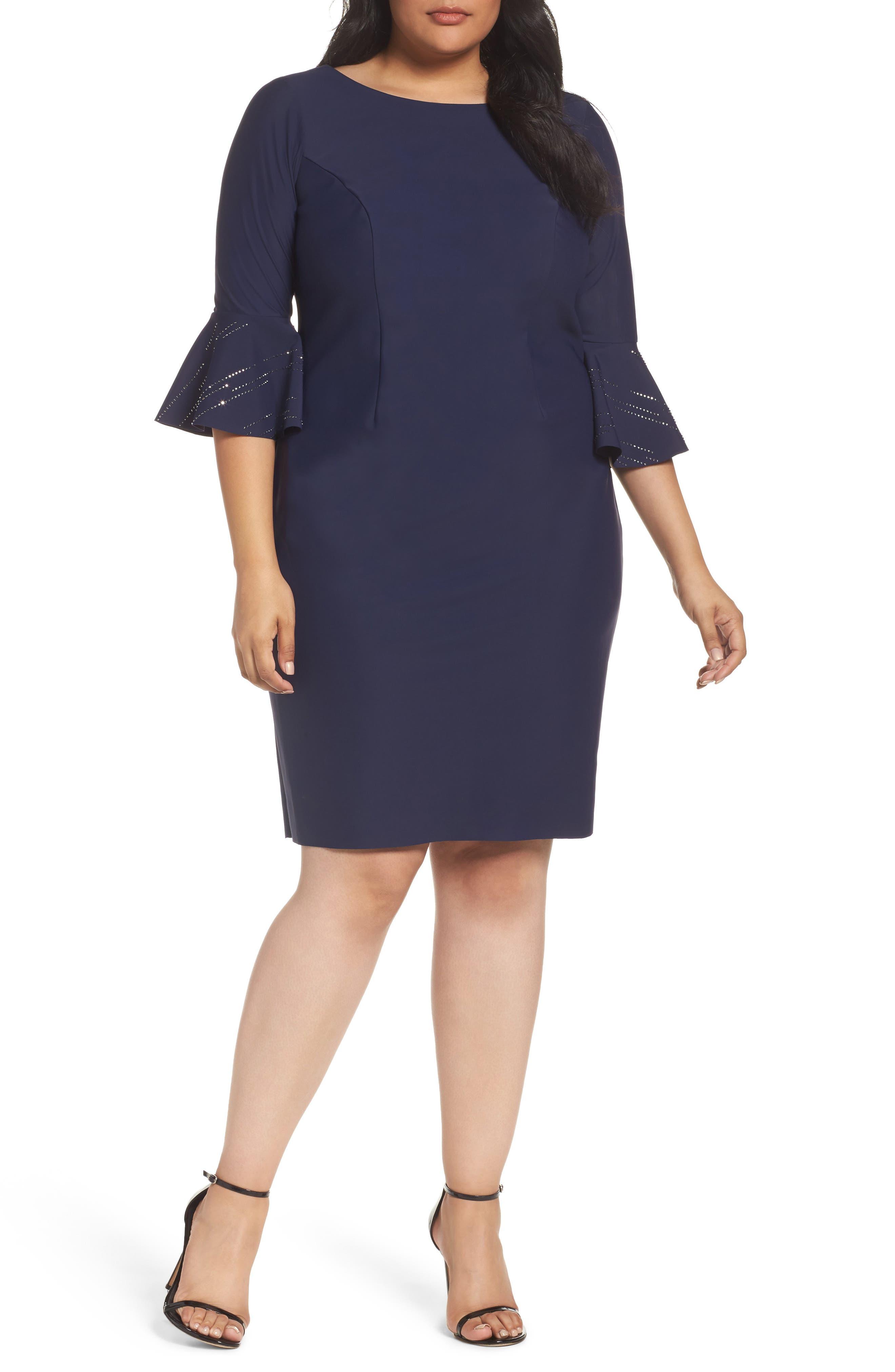 Alex Evenings Embellished Bell Sleeve Dress (Plus Size)