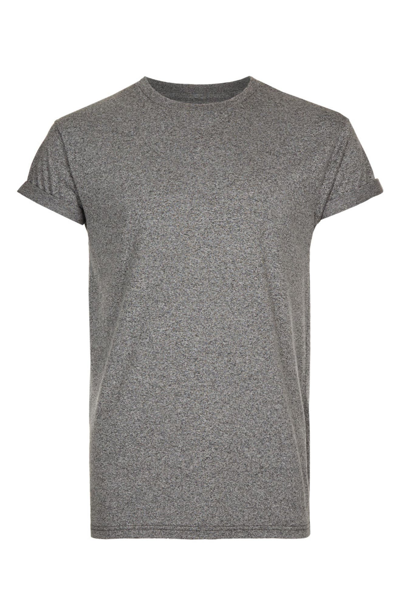 Muscle Fit Roll Sleeve T-Shirt,                             Alternate thumbnail 4, color,                             Grey