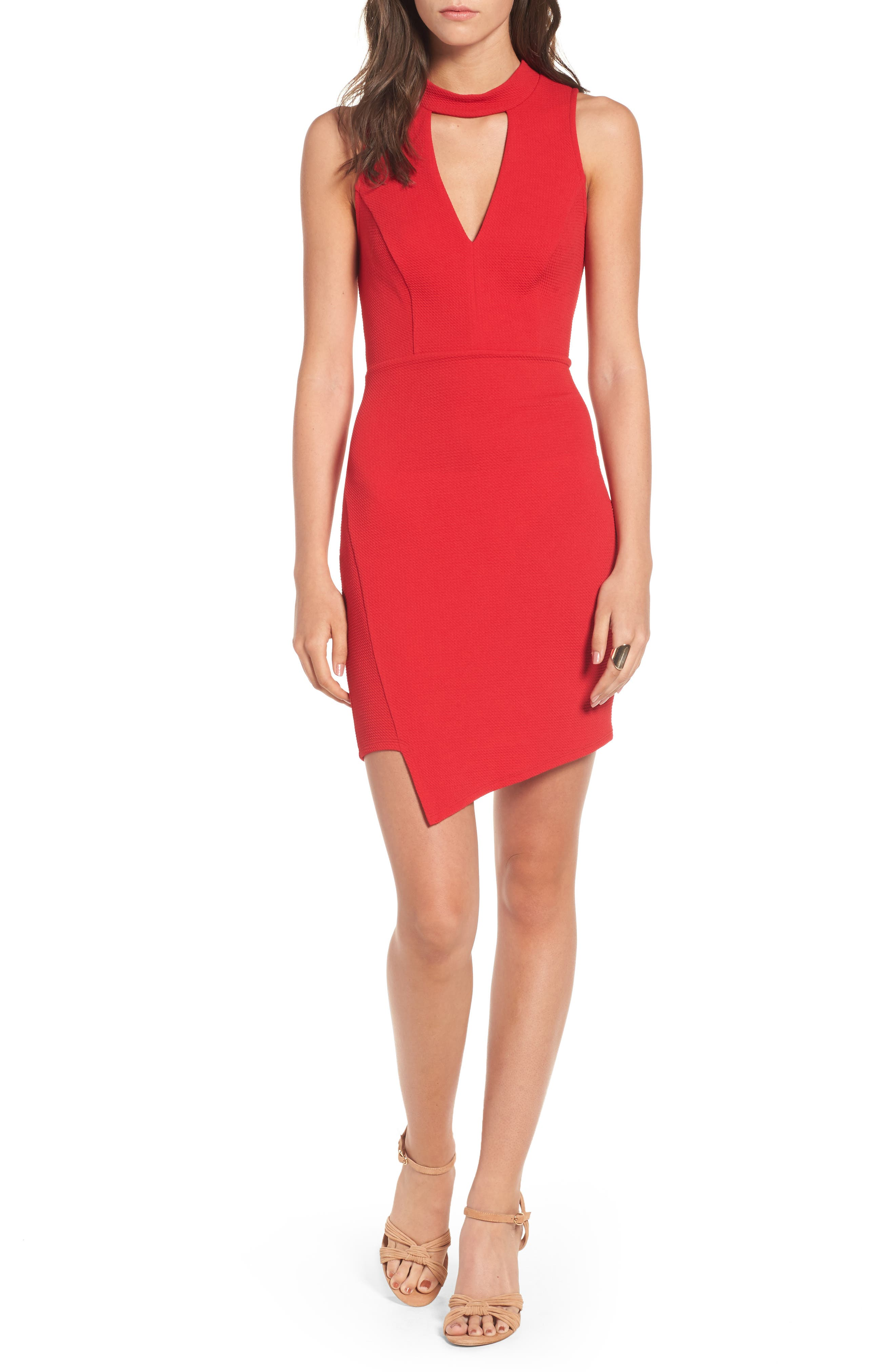 Asymmetrical Body-Con Dress,                             Main thumbnail 1, color,                             Cherry Bomb