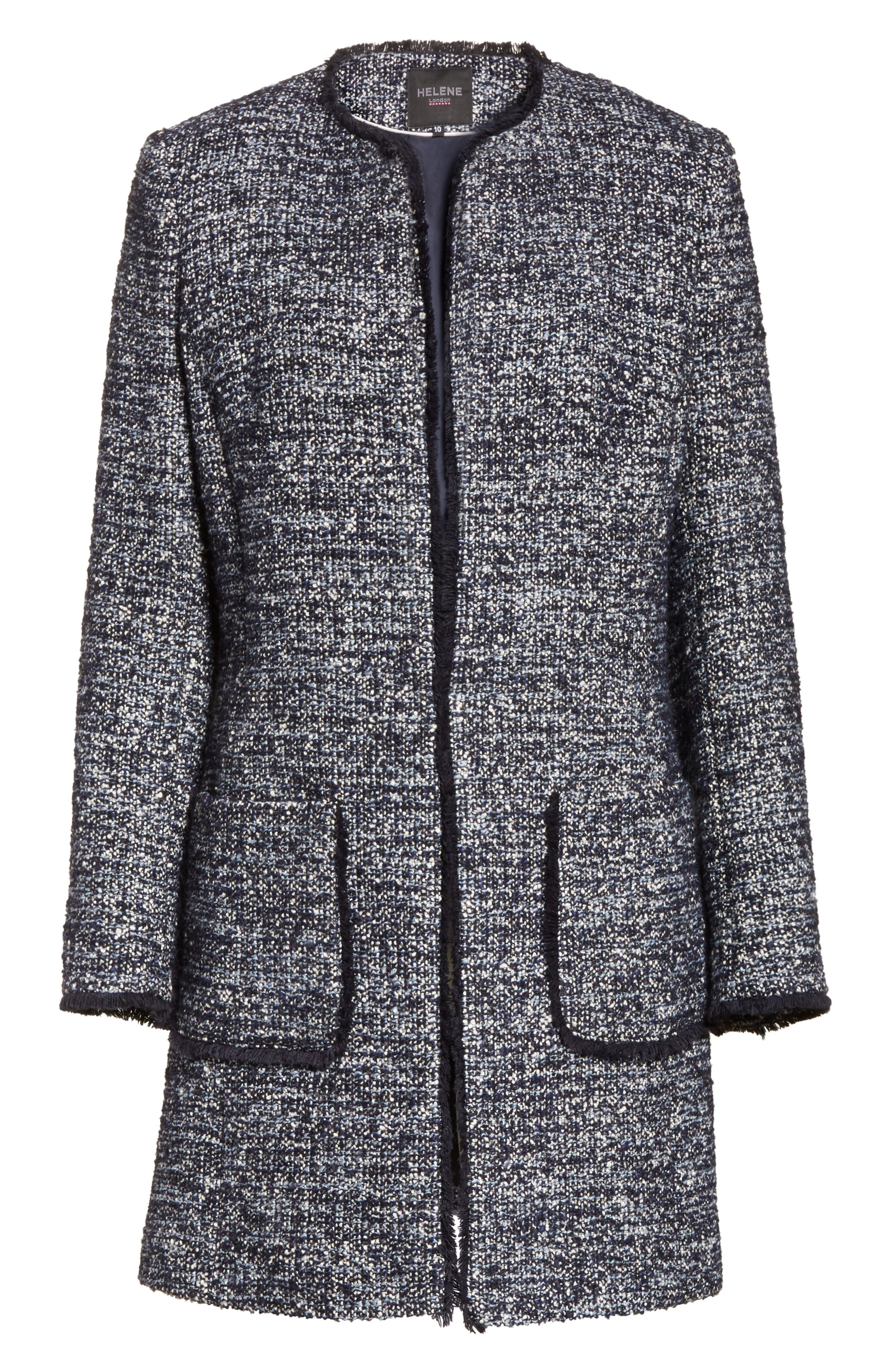 Alice Tweed Jacket,                             Alternate thumbnail 6, color,                             Navy/ Pale Blue