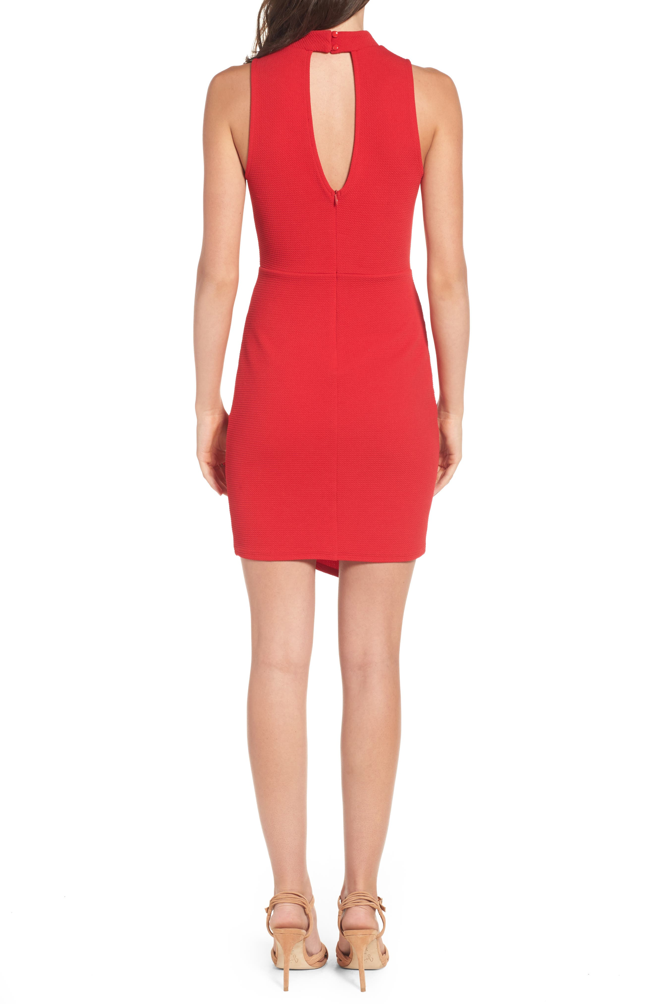 Asymmetrical Body-Con Dress,                             Alternate thumbnail 2, color,                             Cherry Bomb