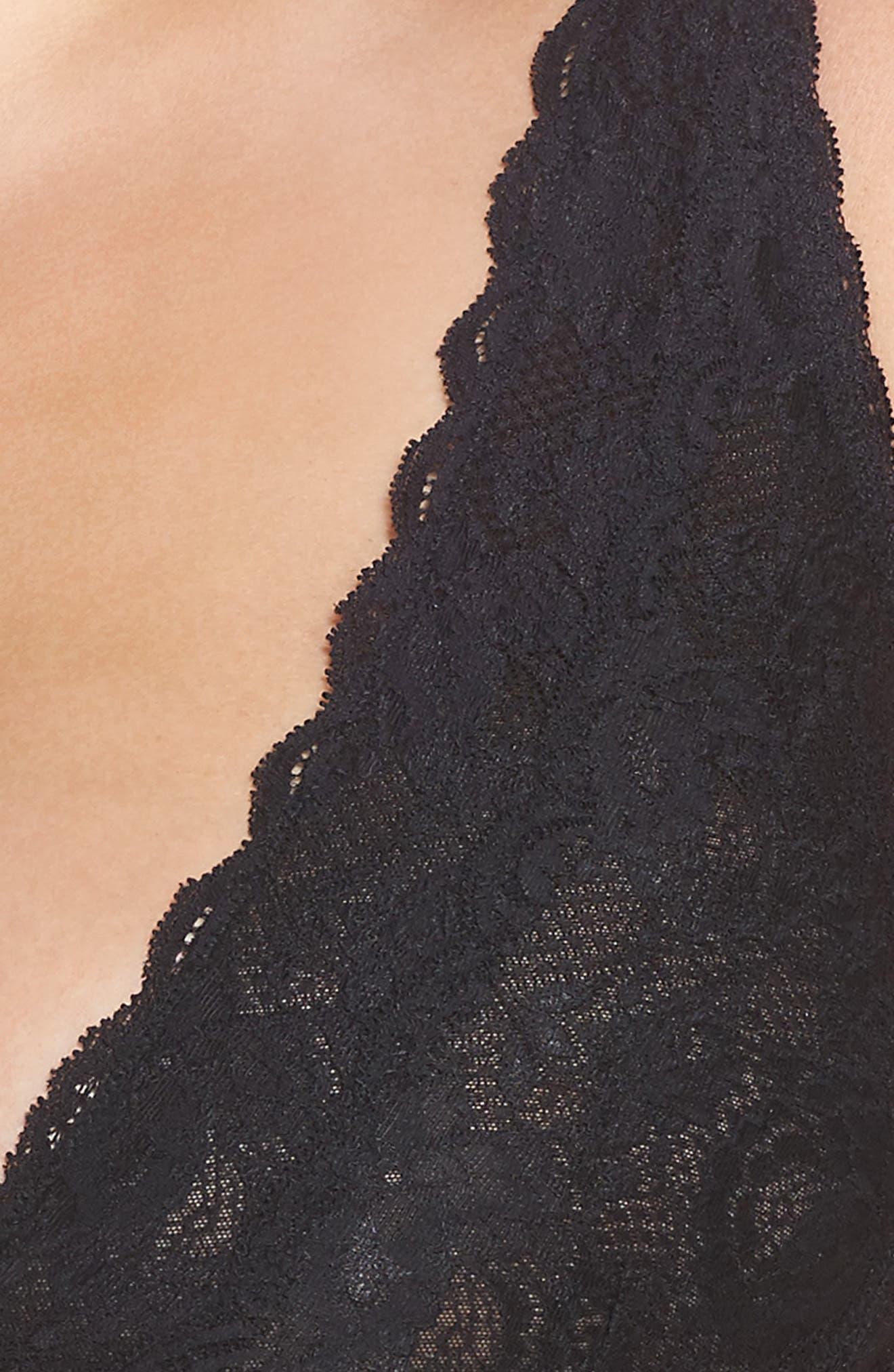 Never Say Never Plungie Lace Longline Bralette,                         Main,                         color, Black