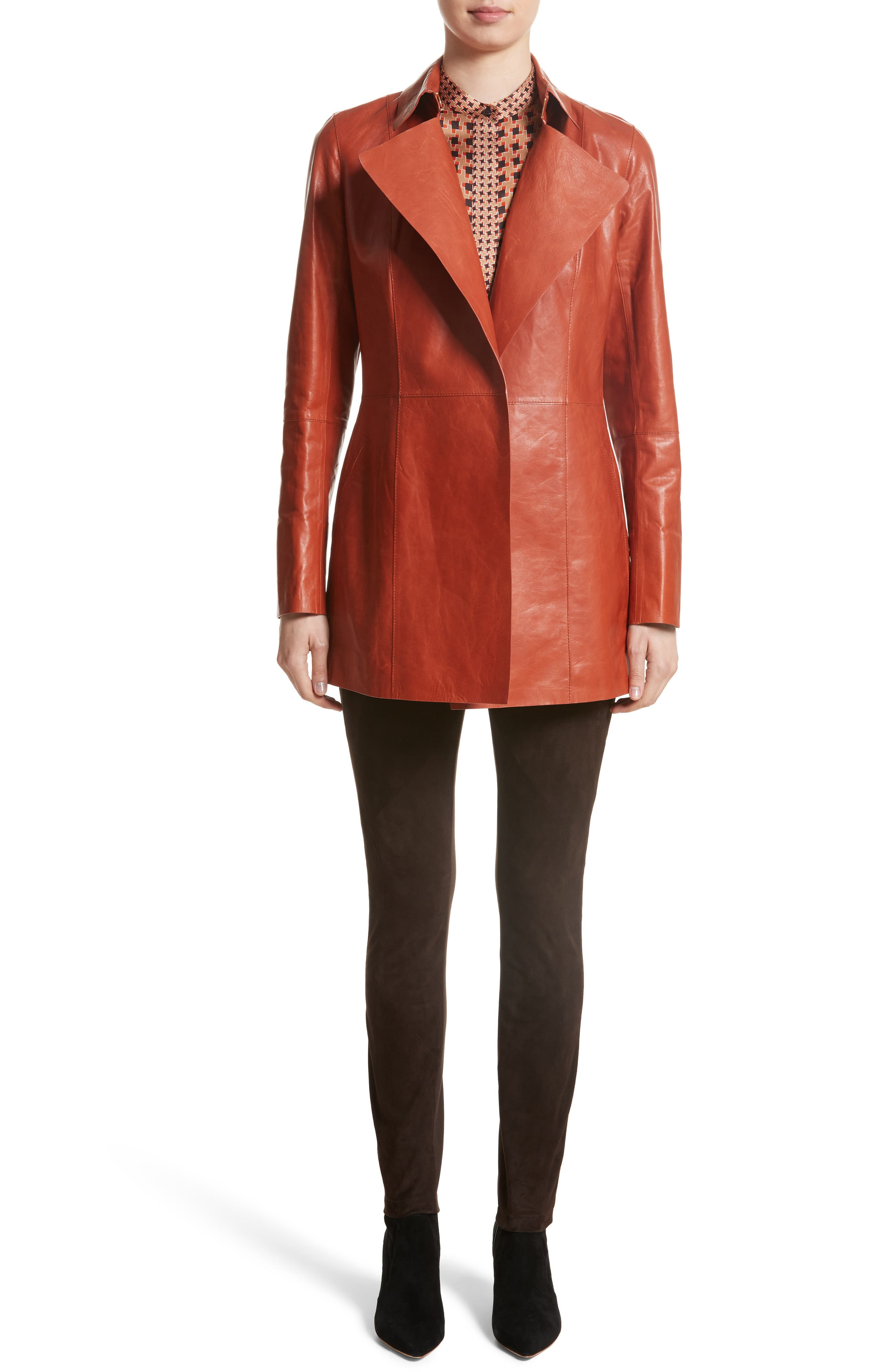 Leather Trench,                             Alternate thumbnail 7, color,                             Harvest