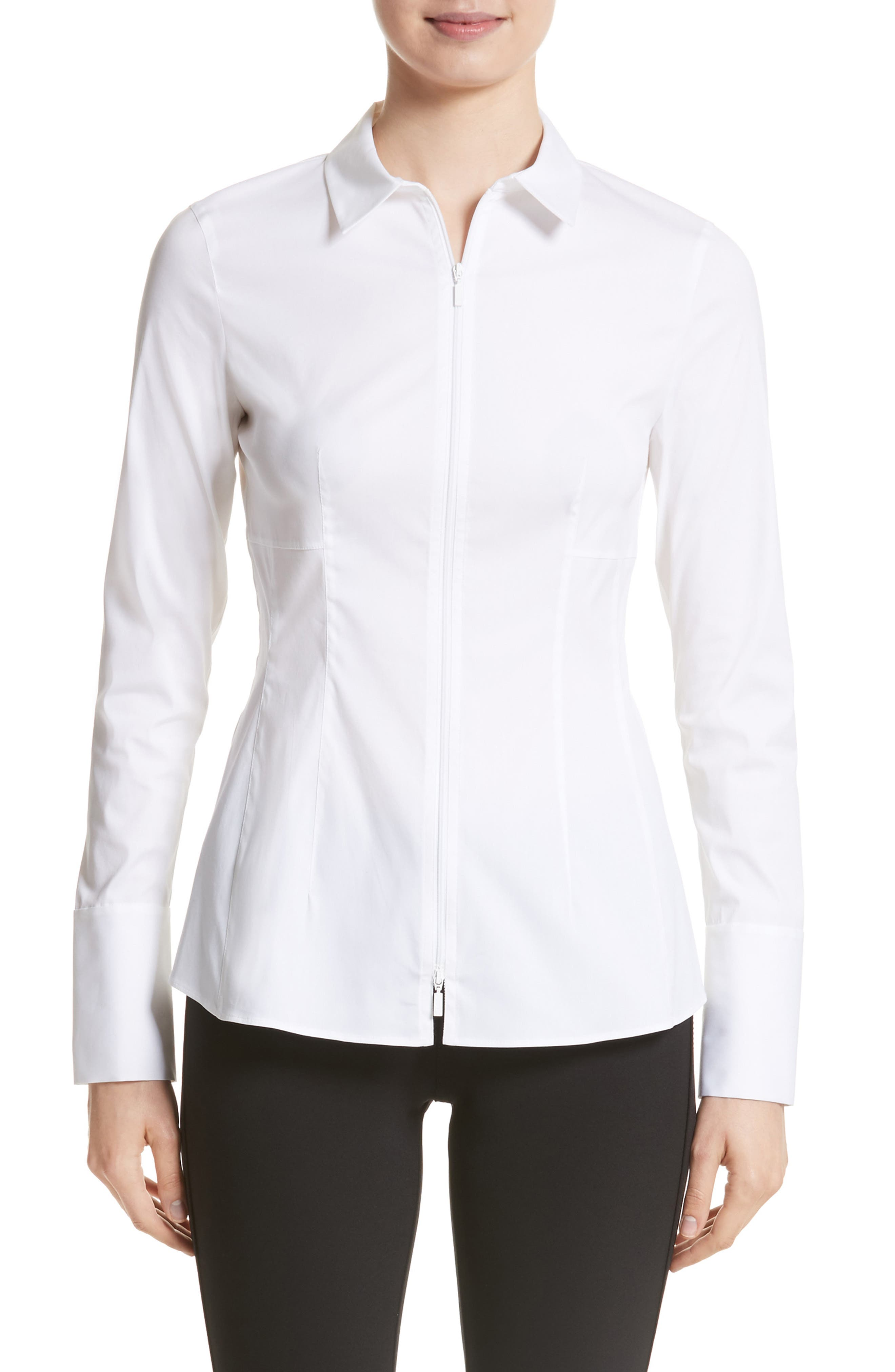 Alternate Image 1 Selected - Lafayette 148 New York Kia Stretch Cotton Blouse