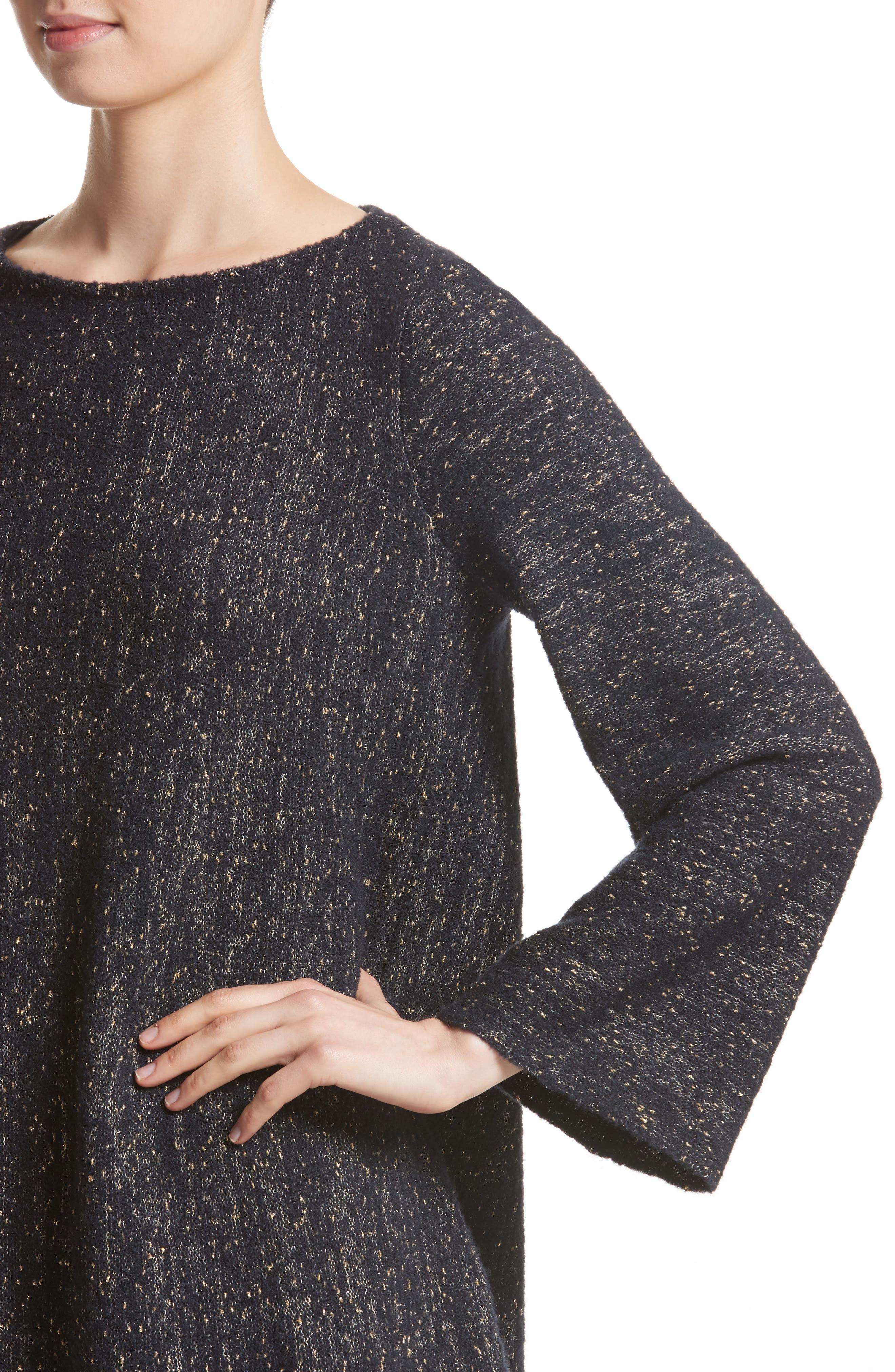 Lafayette Metallic Knit A-Line Sweater,                             Alternate thumbnail 4, color,                             Ink Metallic