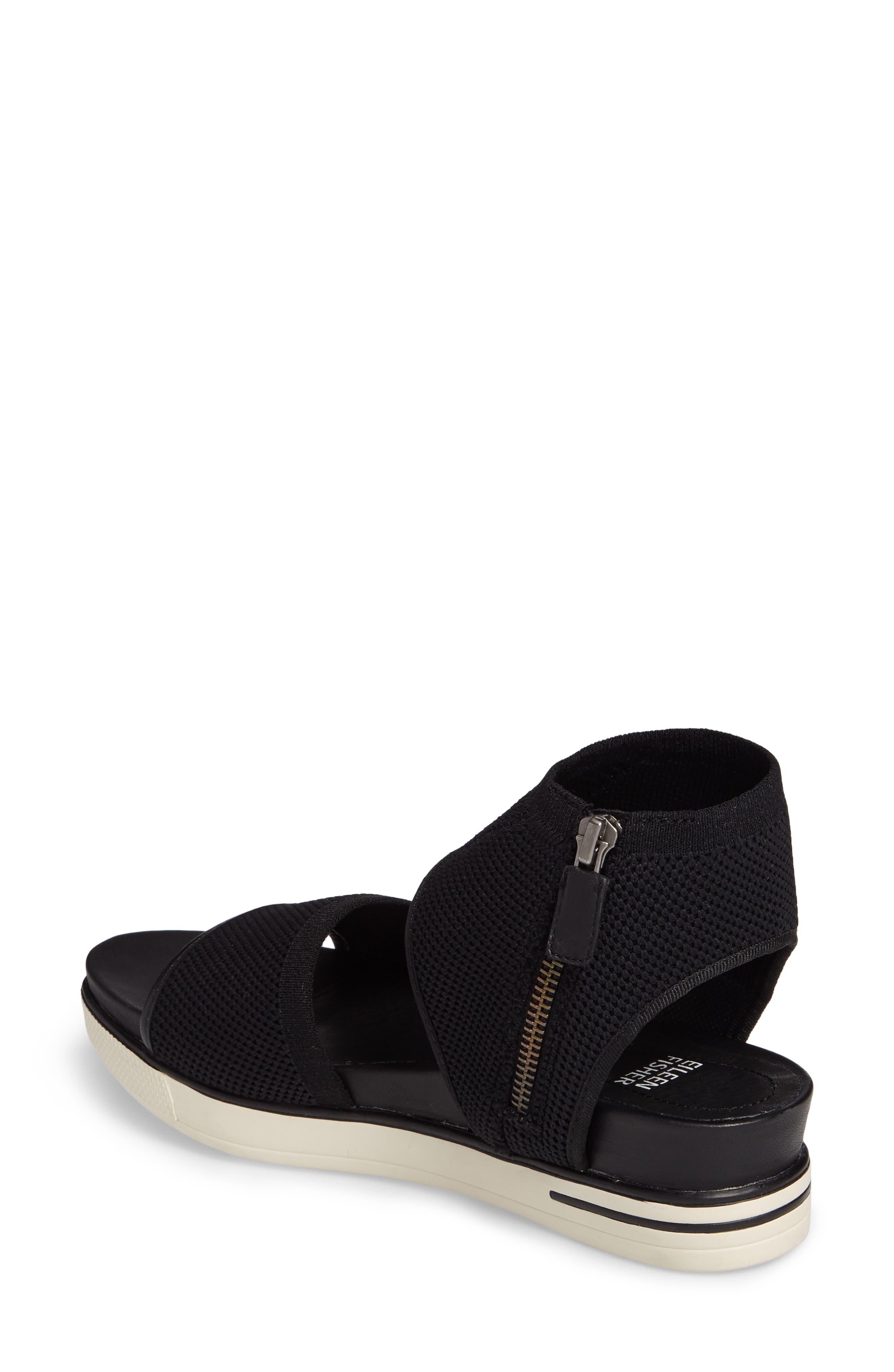 Knit Sport Sandal,                             Alternate thumbnail 2, color,                             Black Fabric