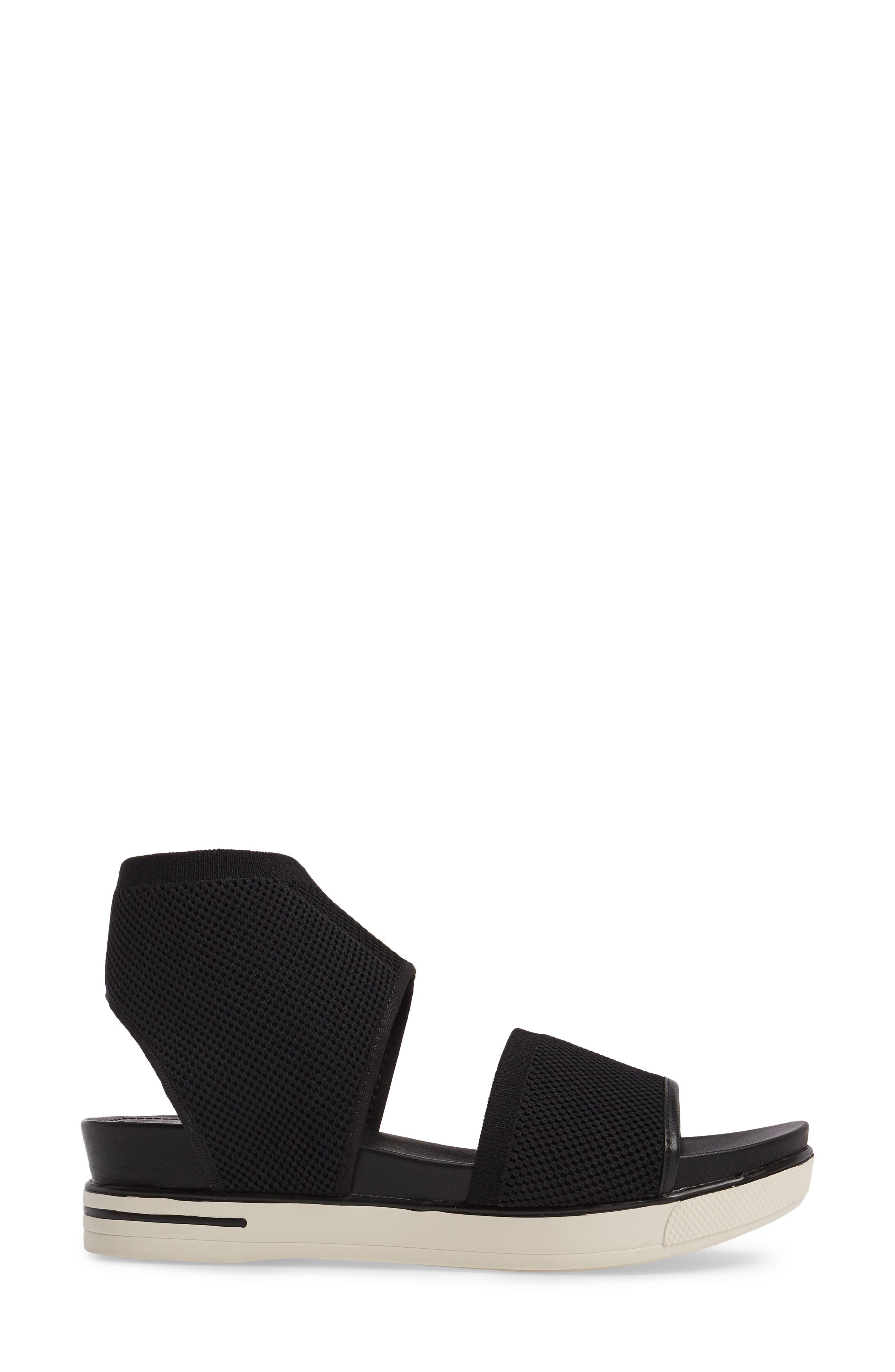 Knit Sport Sandal,                             Alternate thumbnail 3, color,                             Black Fabric