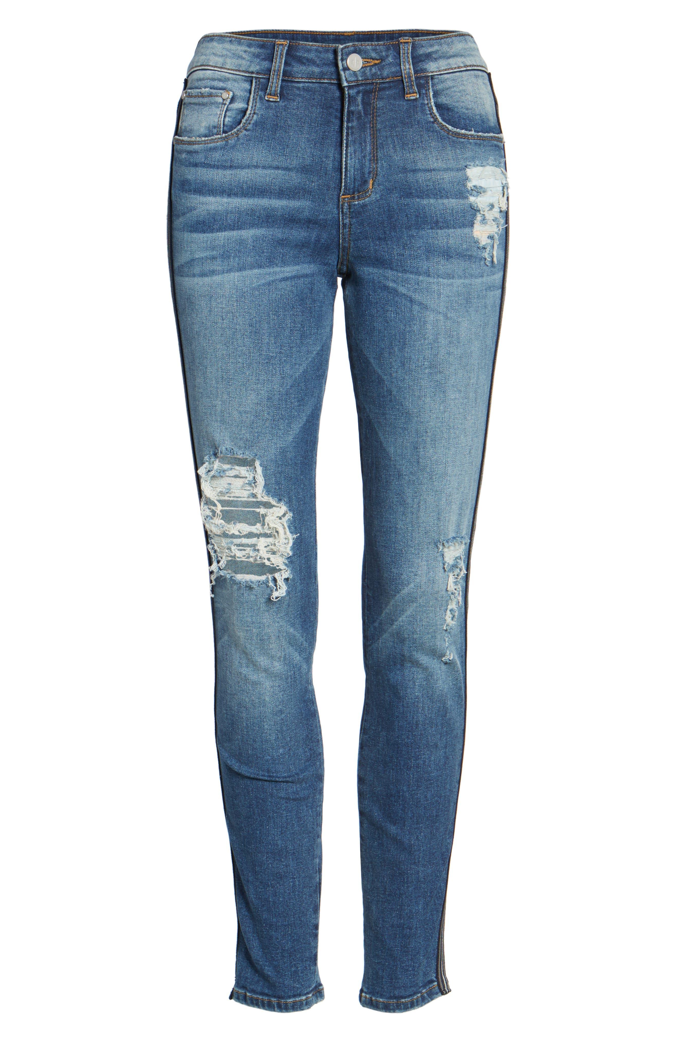 Tuxedo Stripe Ripped Skinny Jeans,                             Alternate thumbnail 5, color,                             Medium Wash