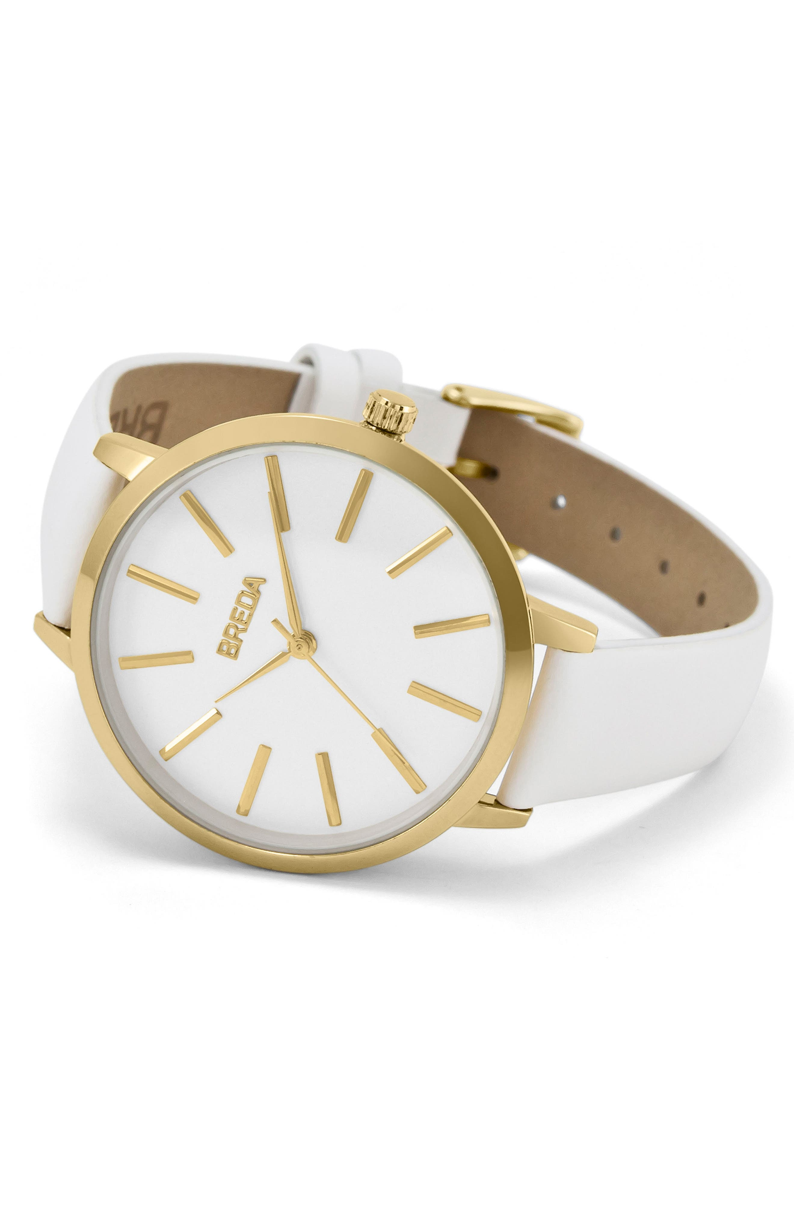 Joule Round Leather Strap Watch, 37mm,                             Alternate thumbnail 2, color,                             White/ Gold