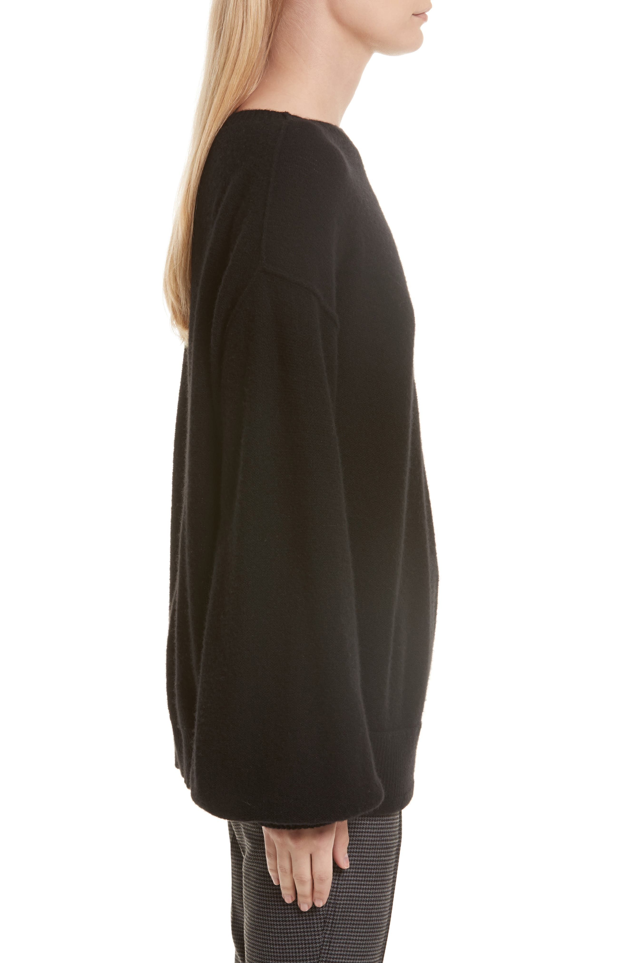 Balloon Sleeve Wool & Cashmere Sweater,                             Alternate thumbnail 4, color,                             Black