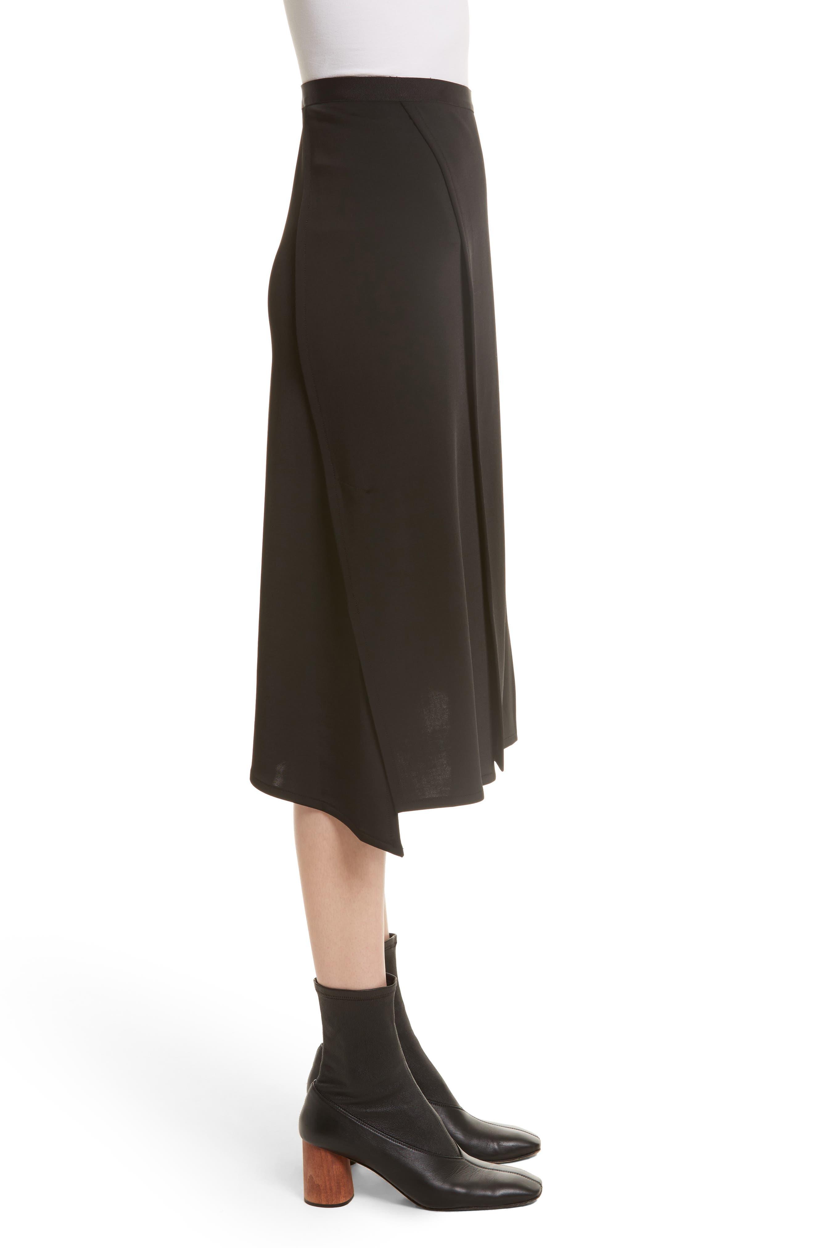 Bondage Jersey Asymmetrical Skirt,                             Alternate thumbnail 4, color,                             Black
