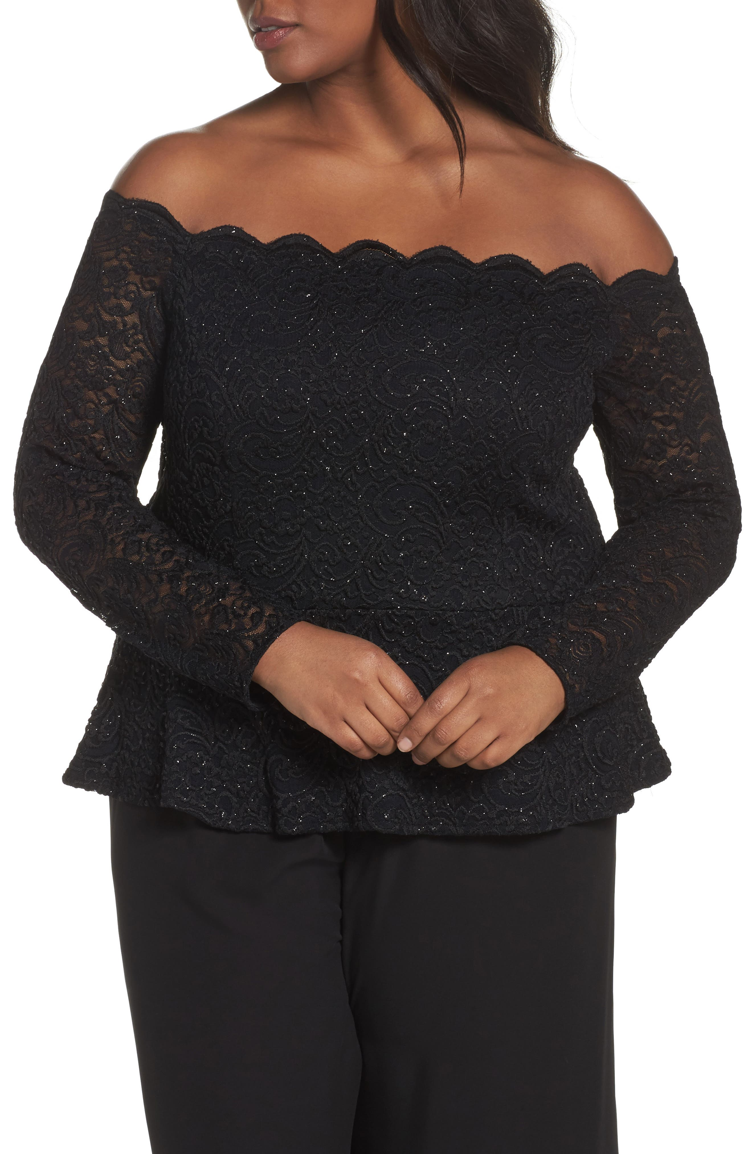 ALEX EVENINGS Glitter Lace Off the Shoulder Top