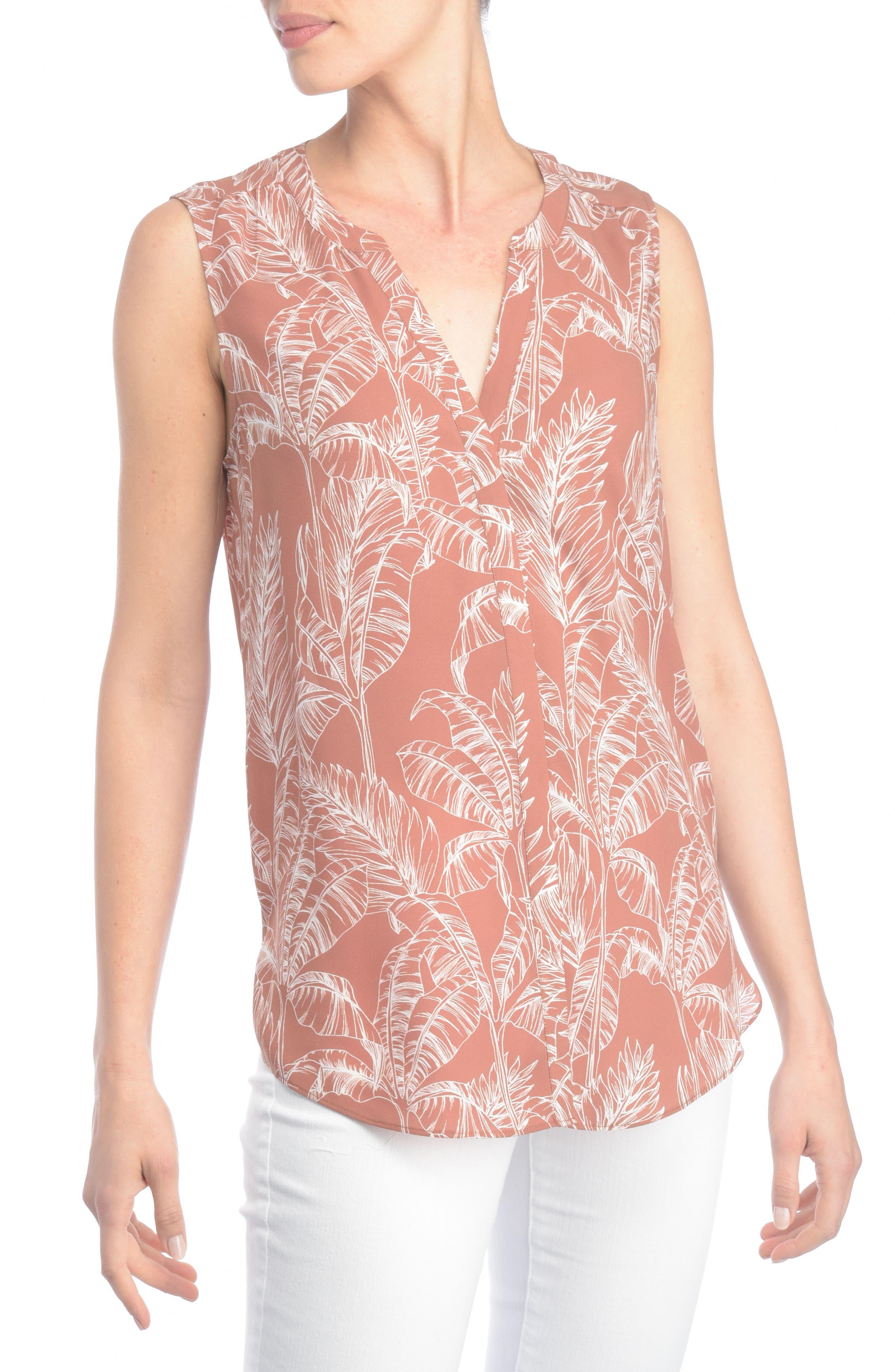 Main Image - NYDJ Print Pleat Back Sleeveless Split Neck Blouse (Regular & Petite) (Nordstrom Exclusive)