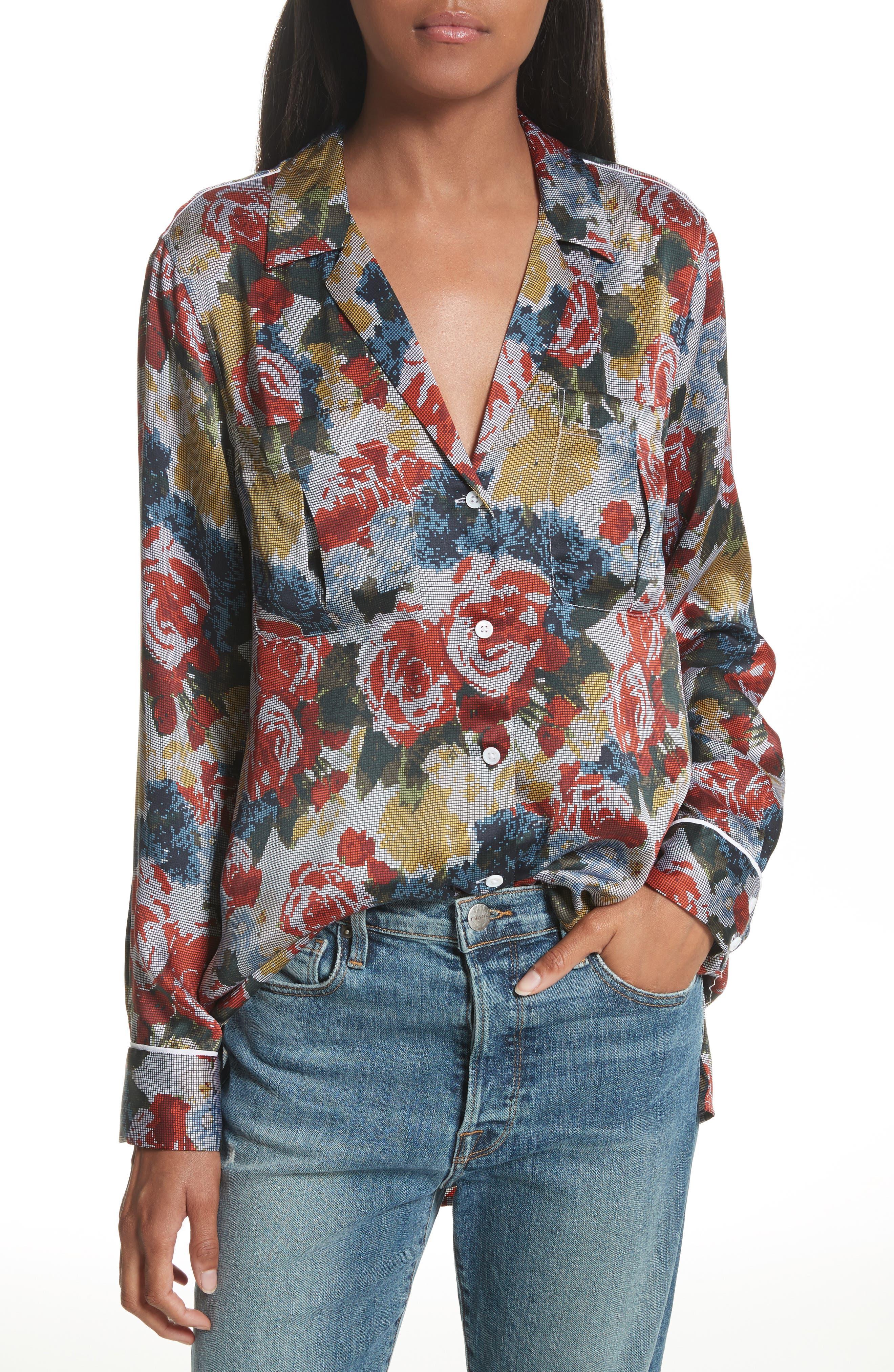 Sonny Floral Silk PJ Top,                         Main,                         color, Rouge Multi