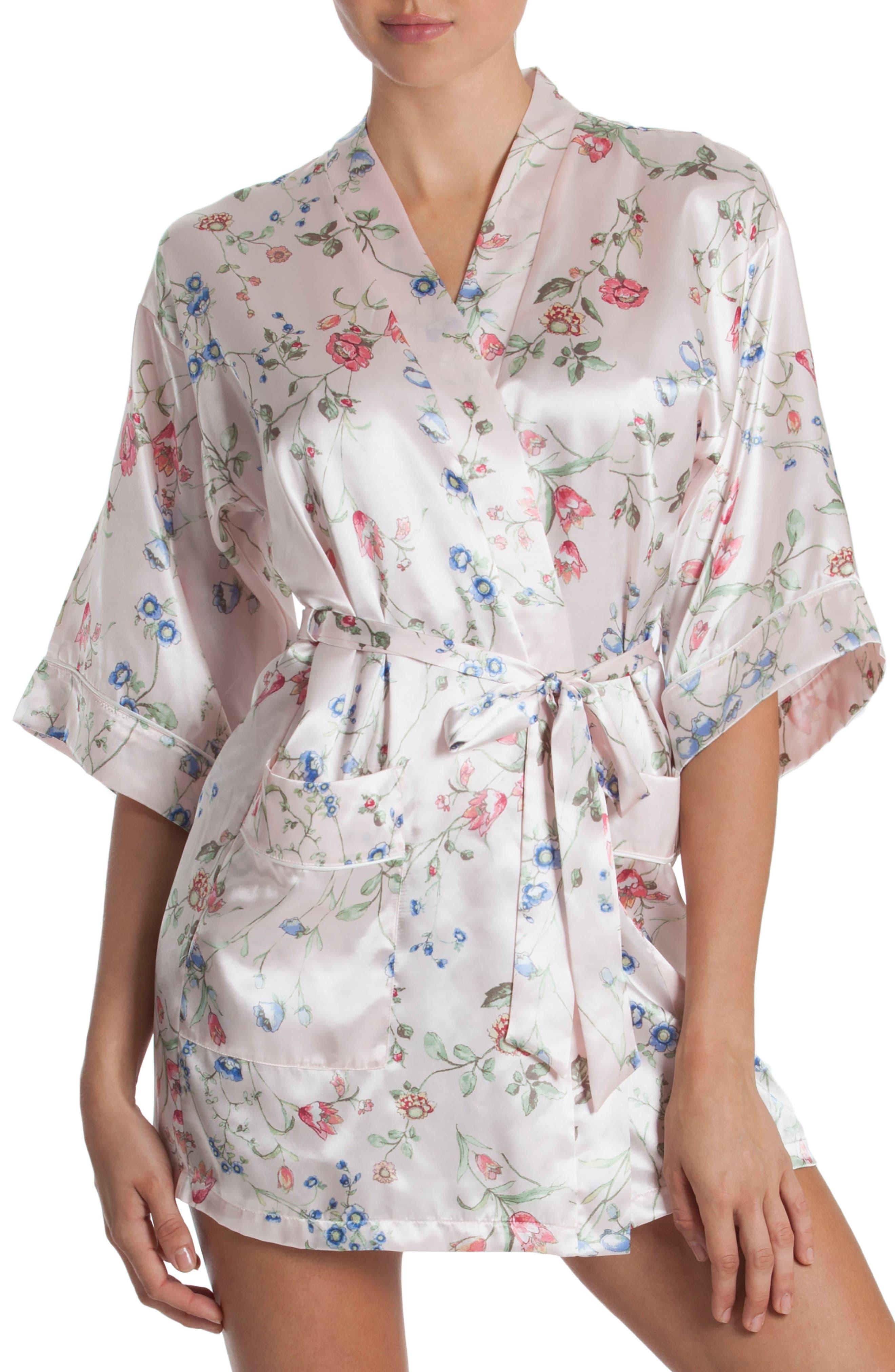 Floral Print Satin Robe,                         Main,                         color, Botanical Breeze-Pink Ground