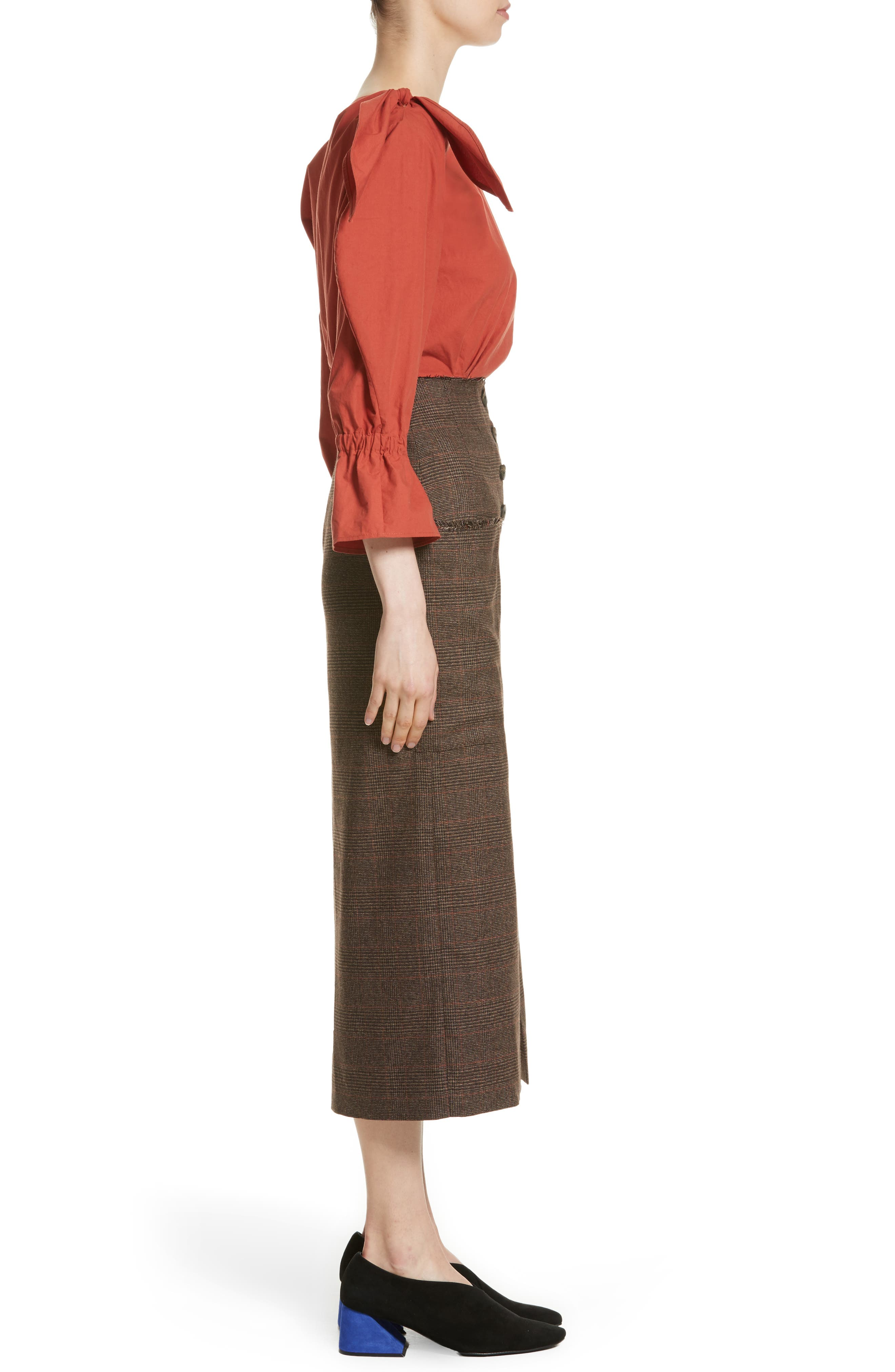 Michelle One-Shoulder Puff Sleeve Blouse,                             Alternate thumbnail 3, color,                             Rust