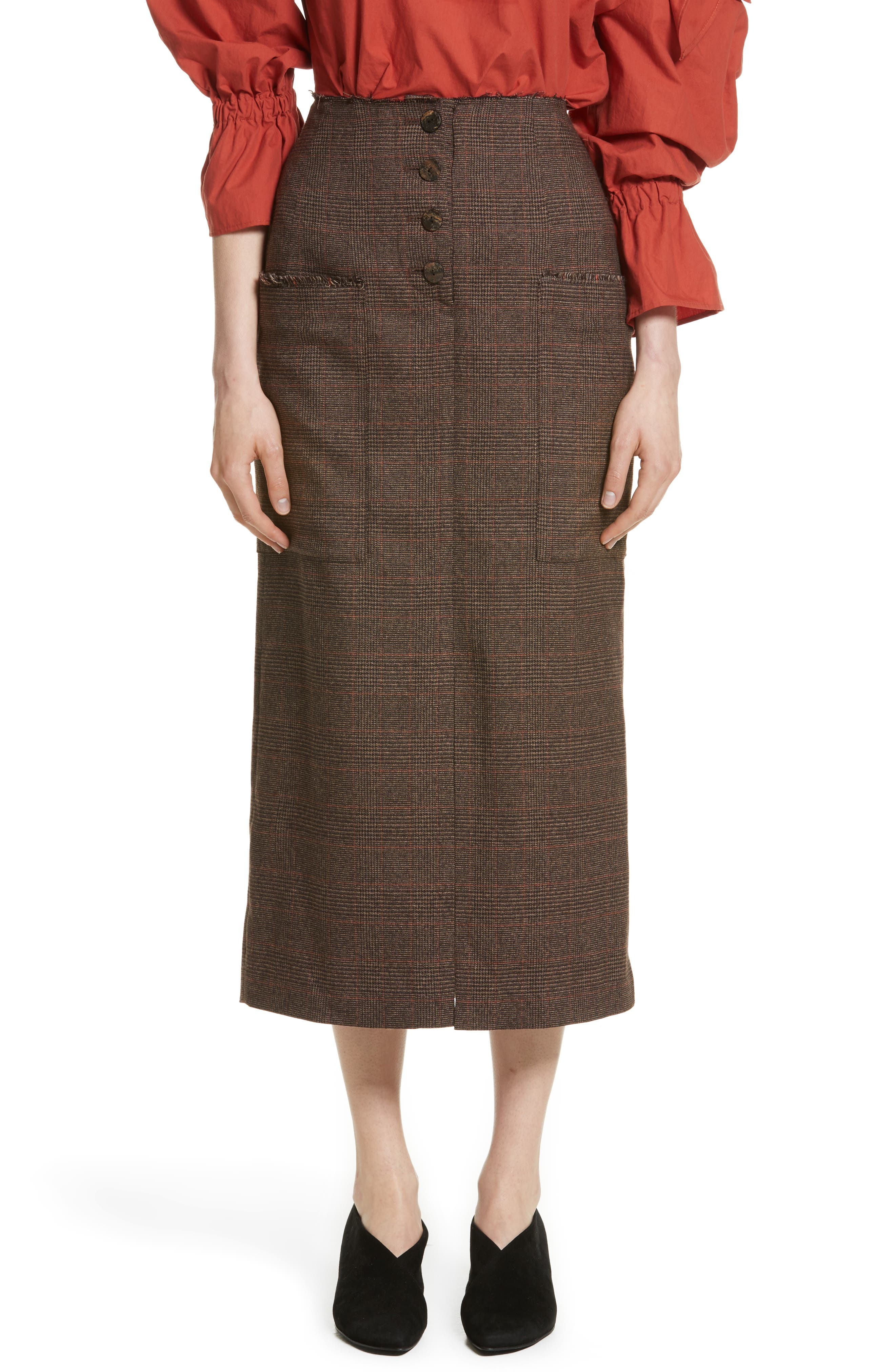Rejina Pyo Carmen Button Front Crepe Midi Skirt