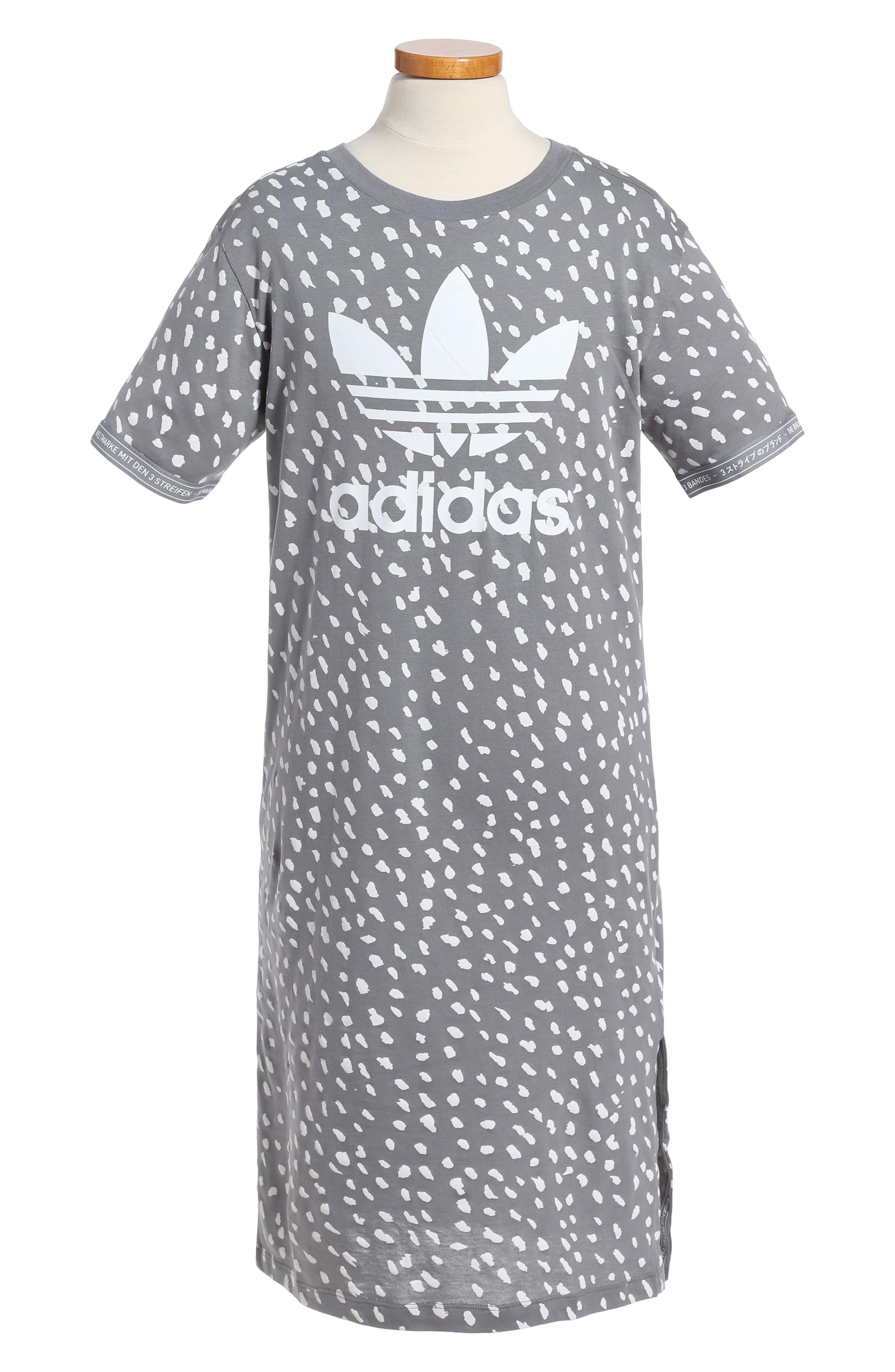 NMD T-Shirt Dress,                         Main,                         color, Grey/ White