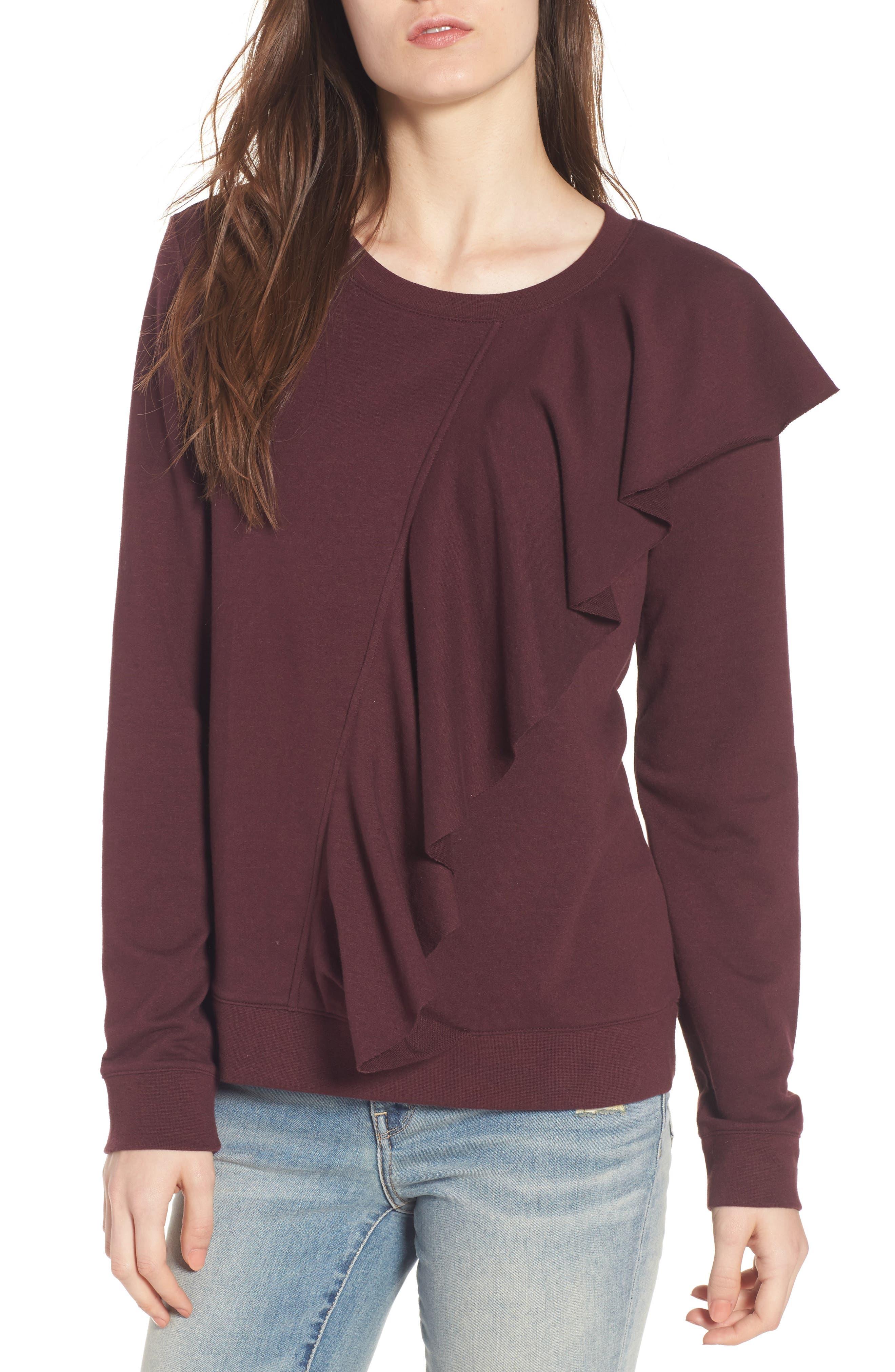 Asymmetrical Ruffle Sweatshirt,                         Main,                         color, Burgundy Stem