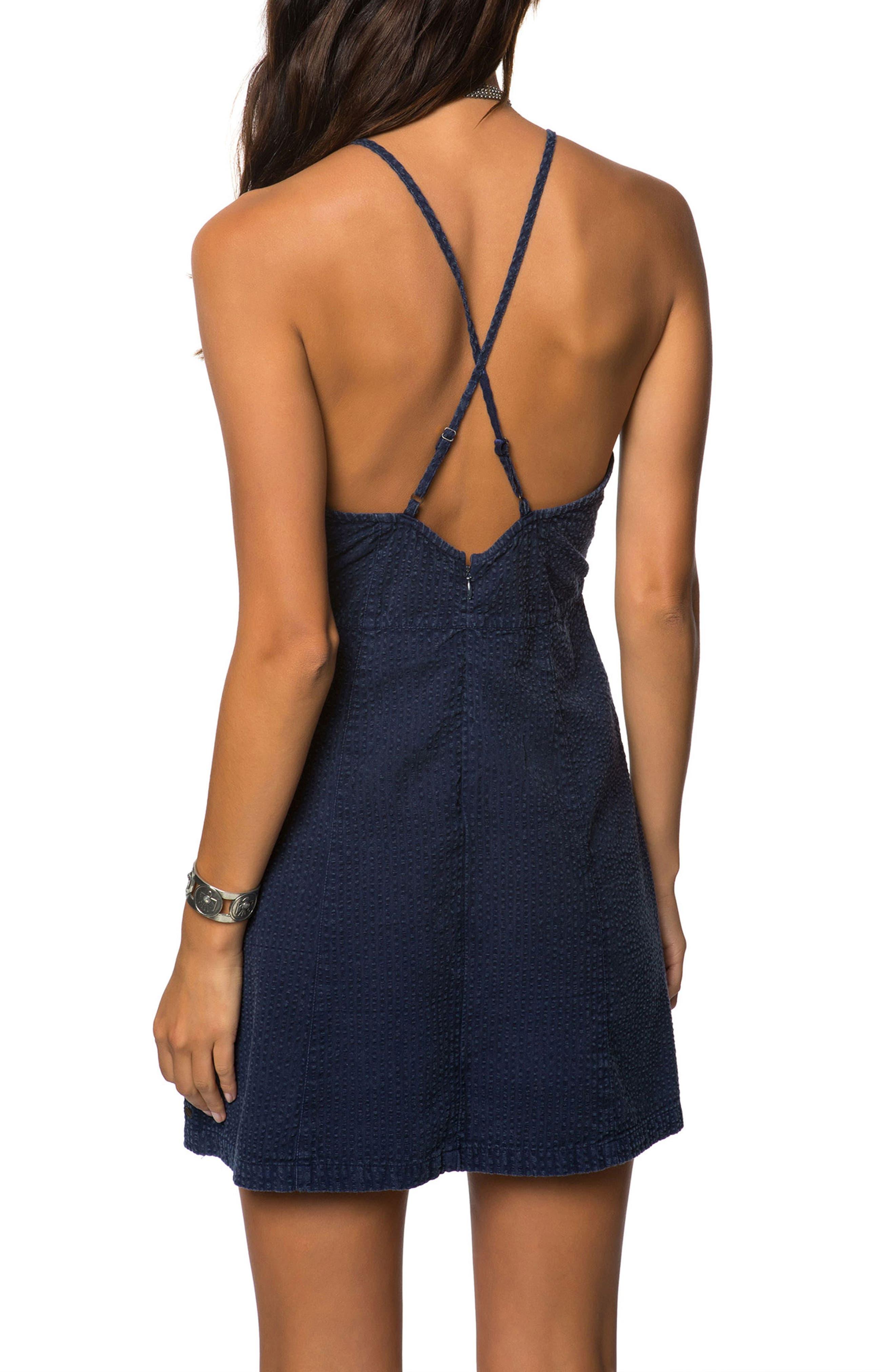 Esme Seersucker Apron Dress,                             Alternate thumbnail 2, color,                             Evening Blue