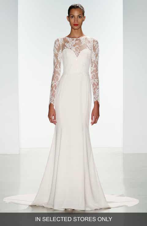 Nouvelle AMSALE Noelle Long Sleeve Lace Crepe Gown