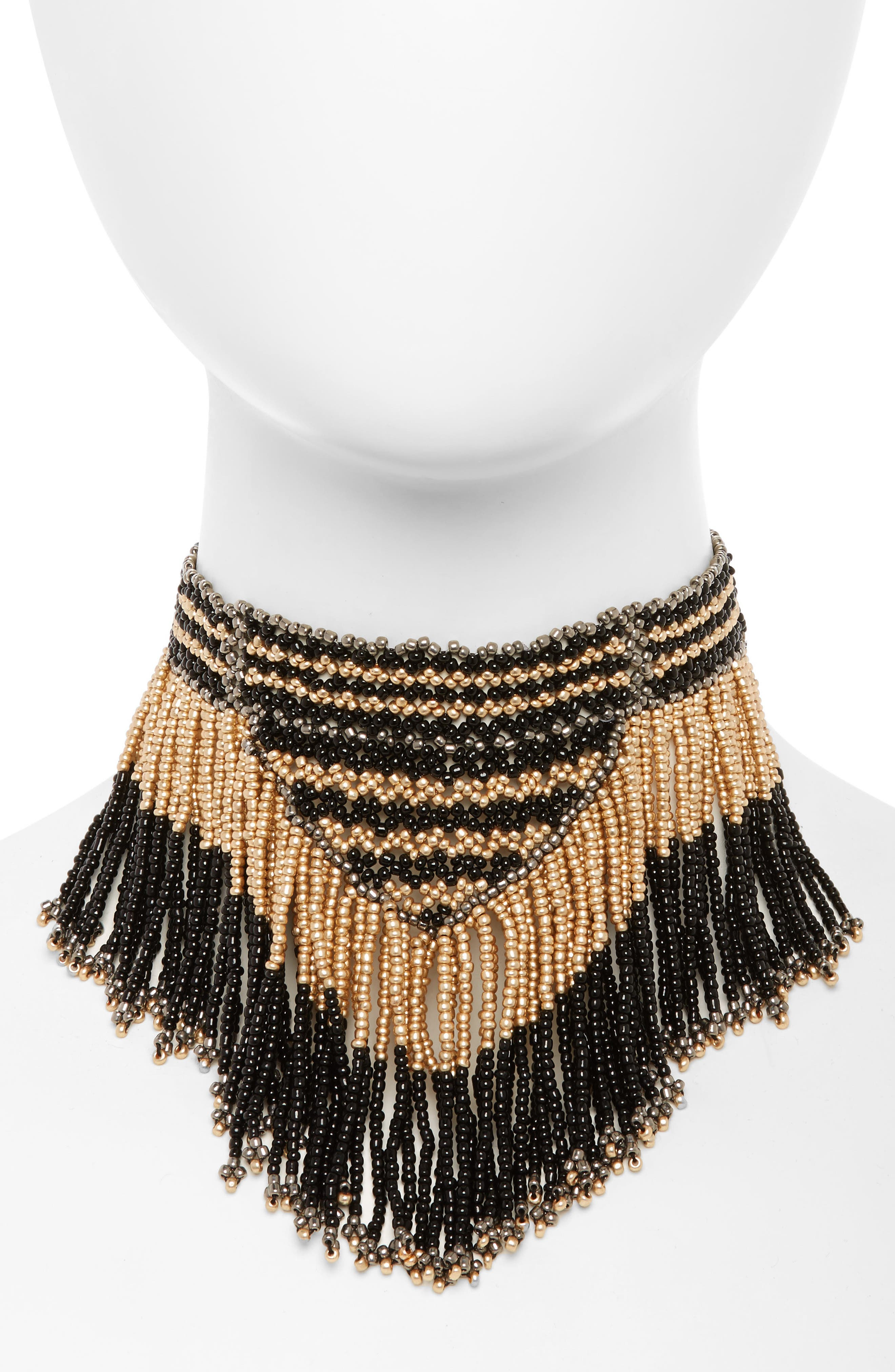 Fringe Necklace,                             Main thumbnail 1, color,                             Black/ Multi