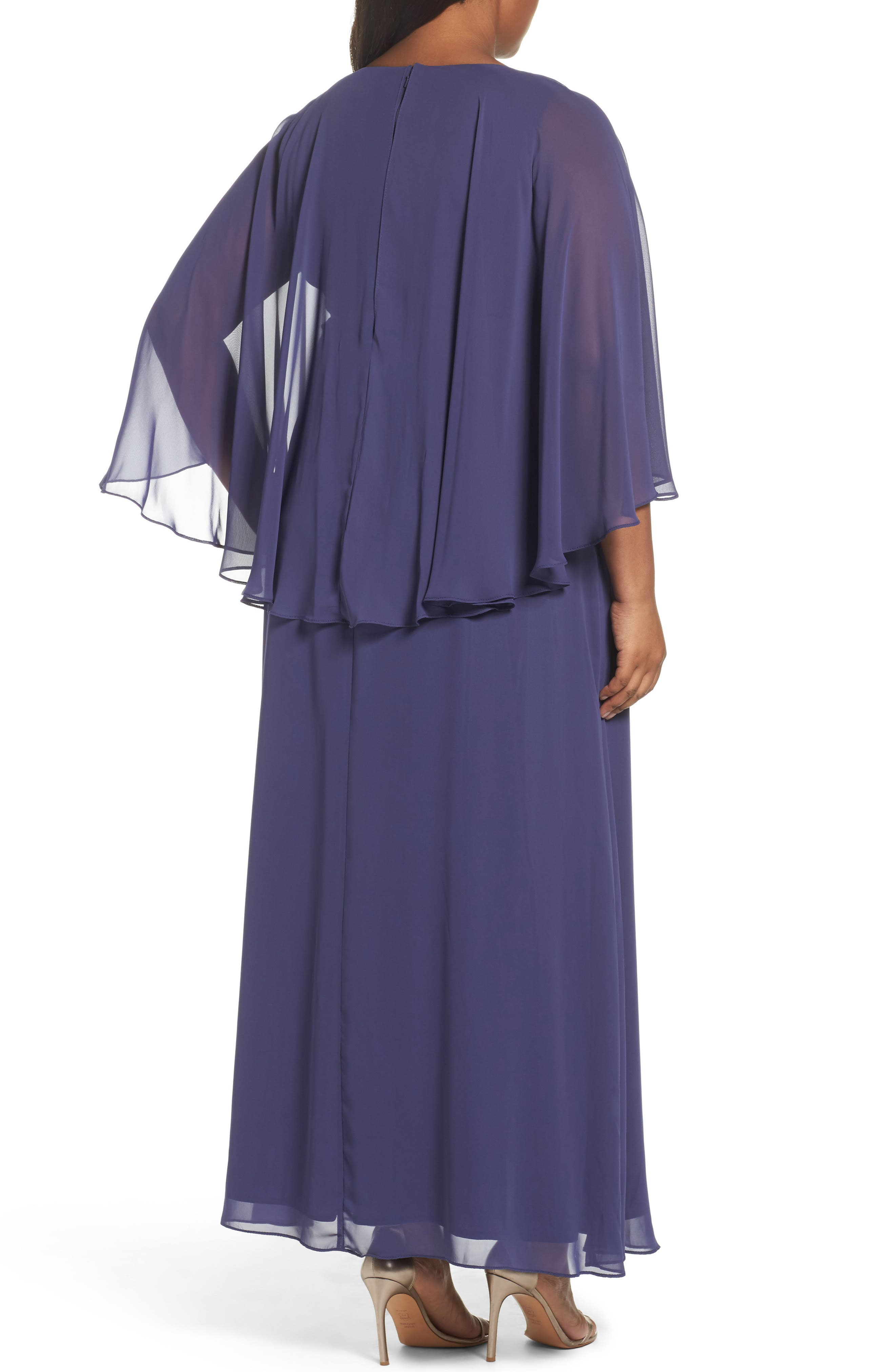 Embellished Waist Capelet Gown,                             Alternate thumbnail 3, color,                             Heather