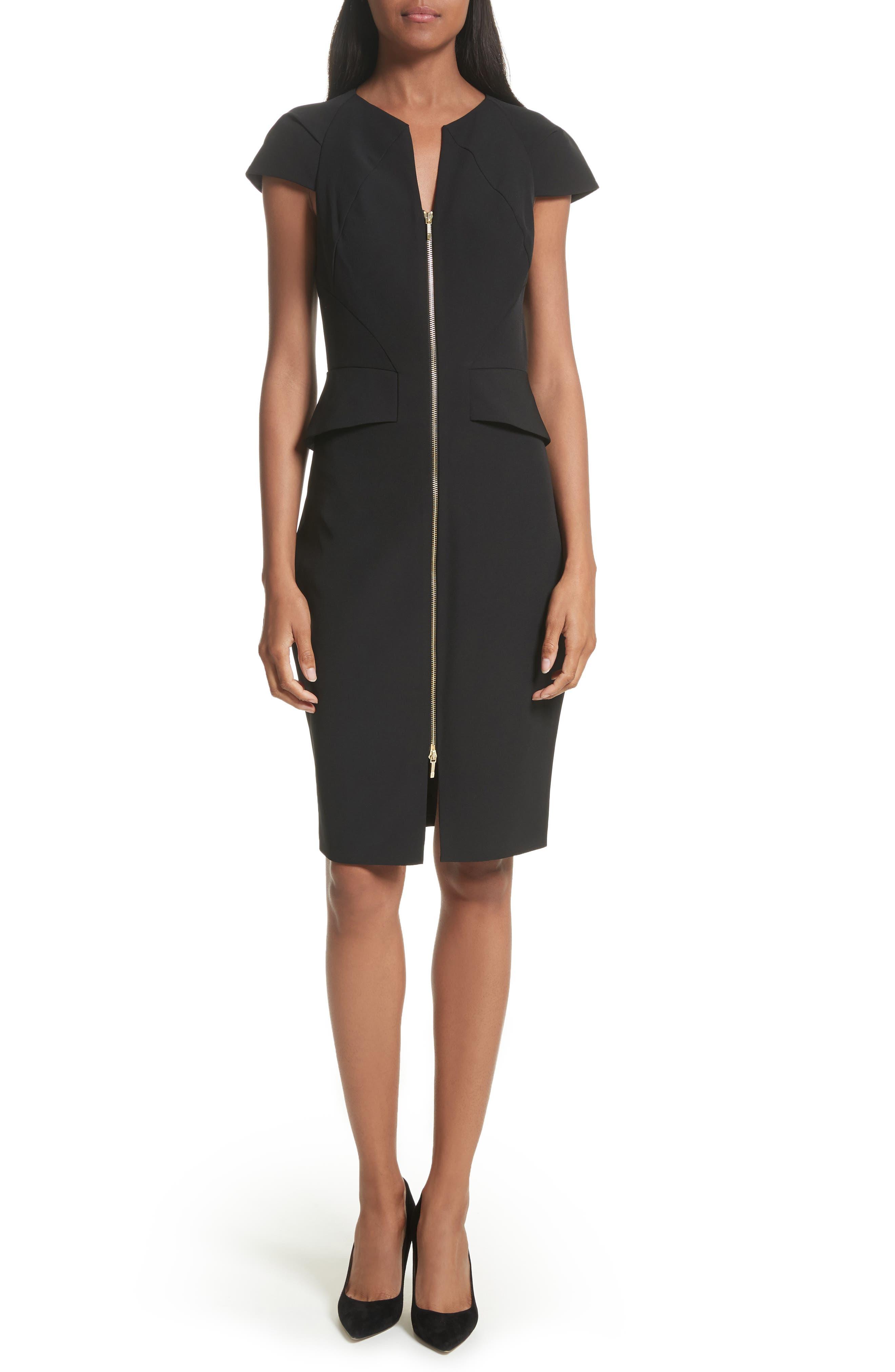 Architectural Pencil Dress,                             Main thumbnail 1, color,                             Black