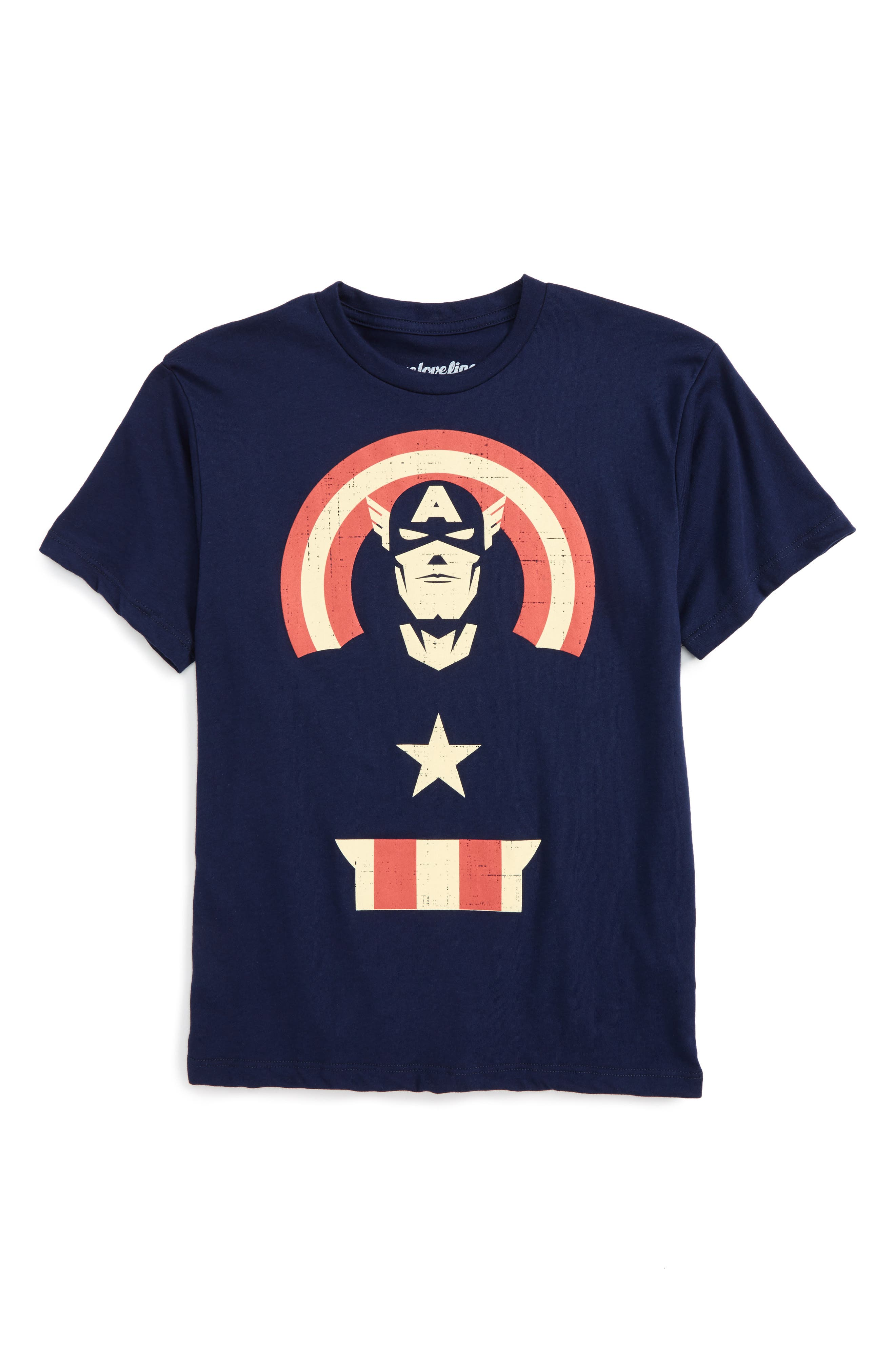 Captain America Graphic T-Shirt,                             Main thumbnail 1, color,                             Navy