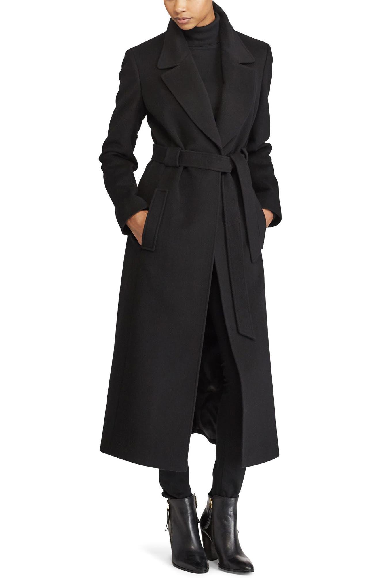 Wrap Overcoat,                         Main,                         color, Black
