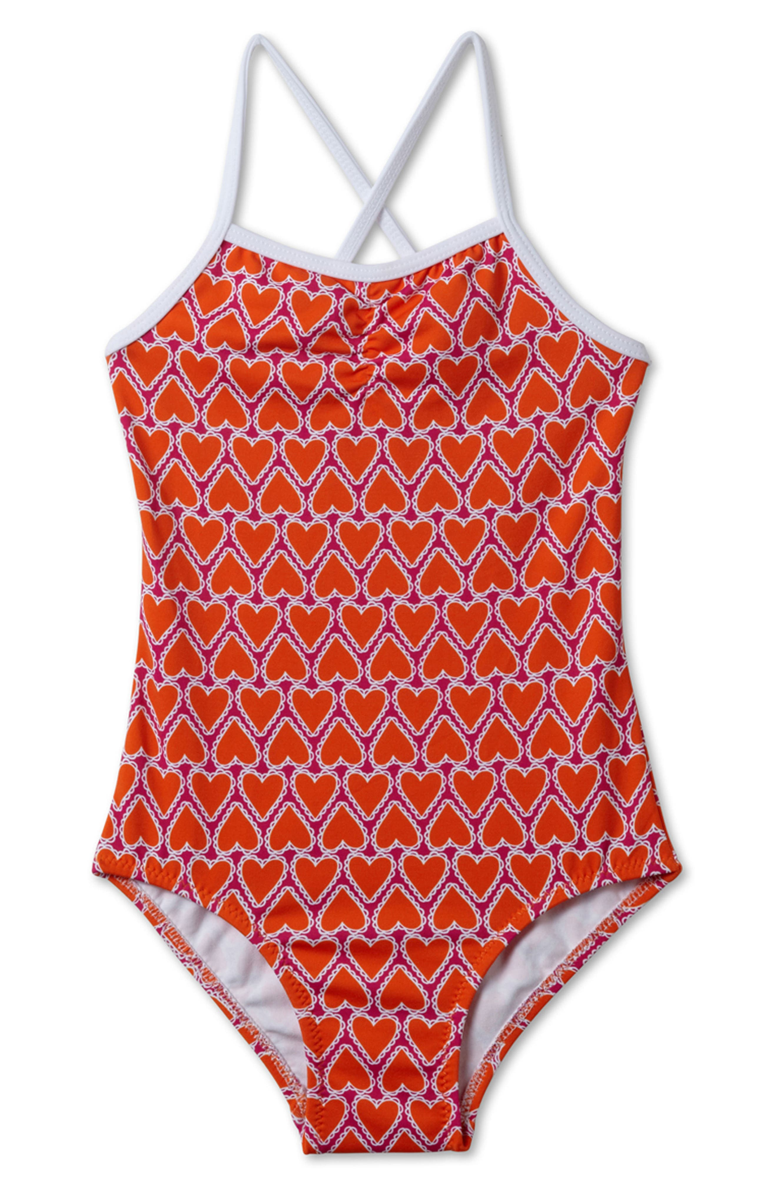 Stella Cove Heart Print One-Piece Swimsuit (Big Girls)