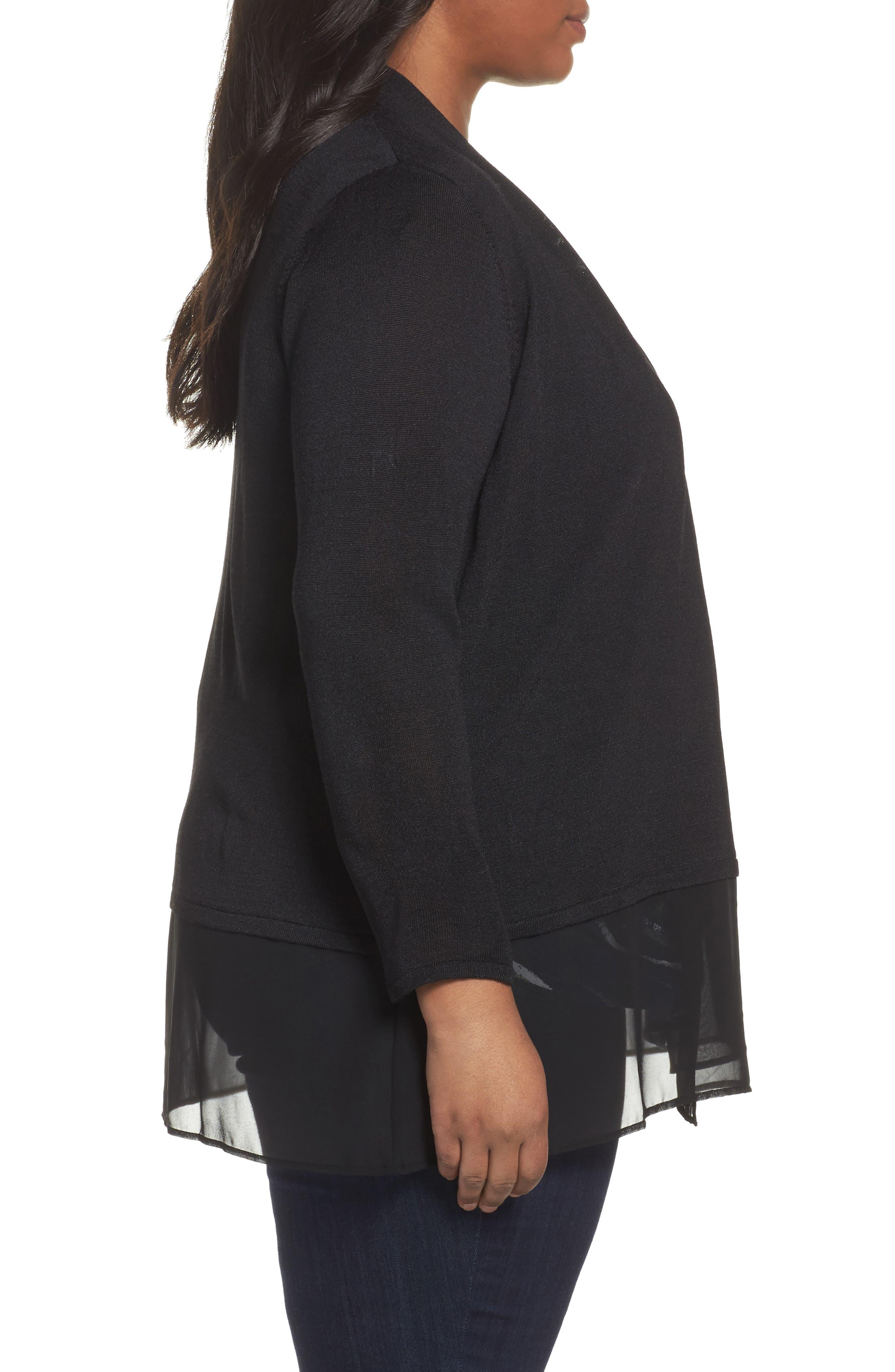 Alternate Image 3  - NIC+ZOE Chiffon Trim Cardigan (Plus Size)