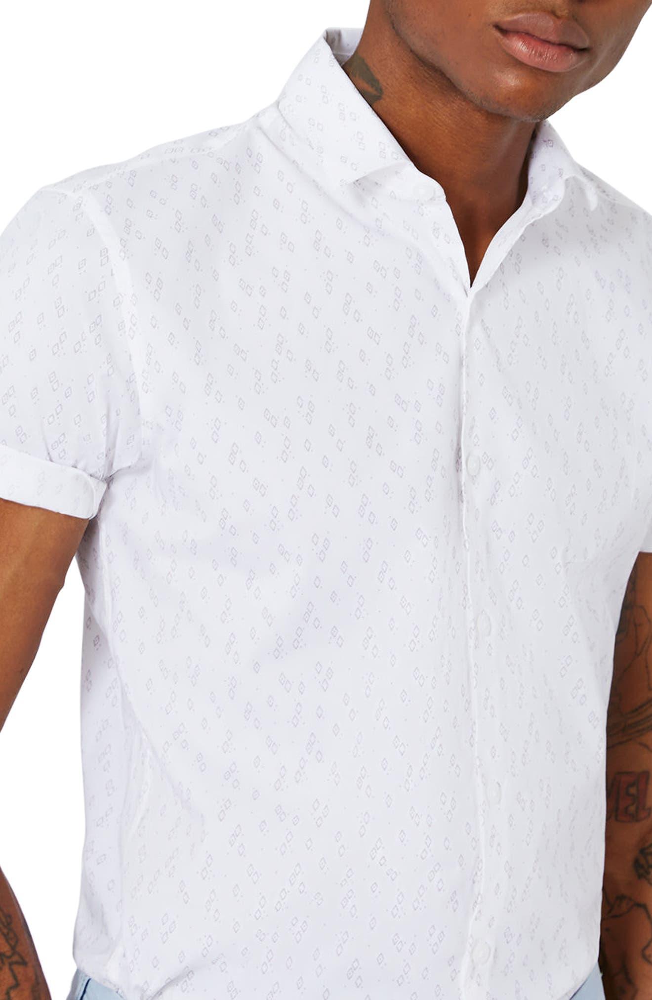 Slim Fit Geo Print Woven Shirt,                             Alternate thumbnail 3, color,                             Stone Multi