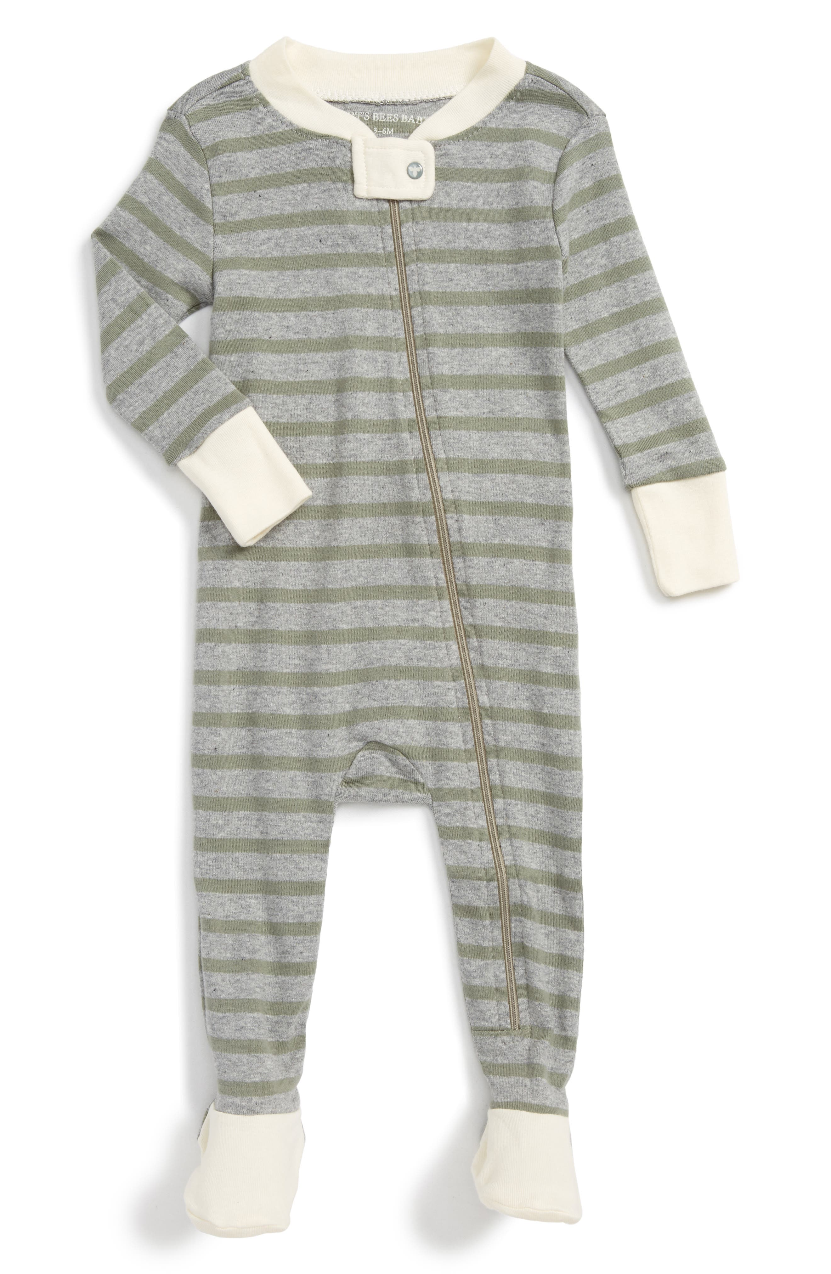 BURTS BEES BABY Stripe Fitted One-Piece Footed Pajamas