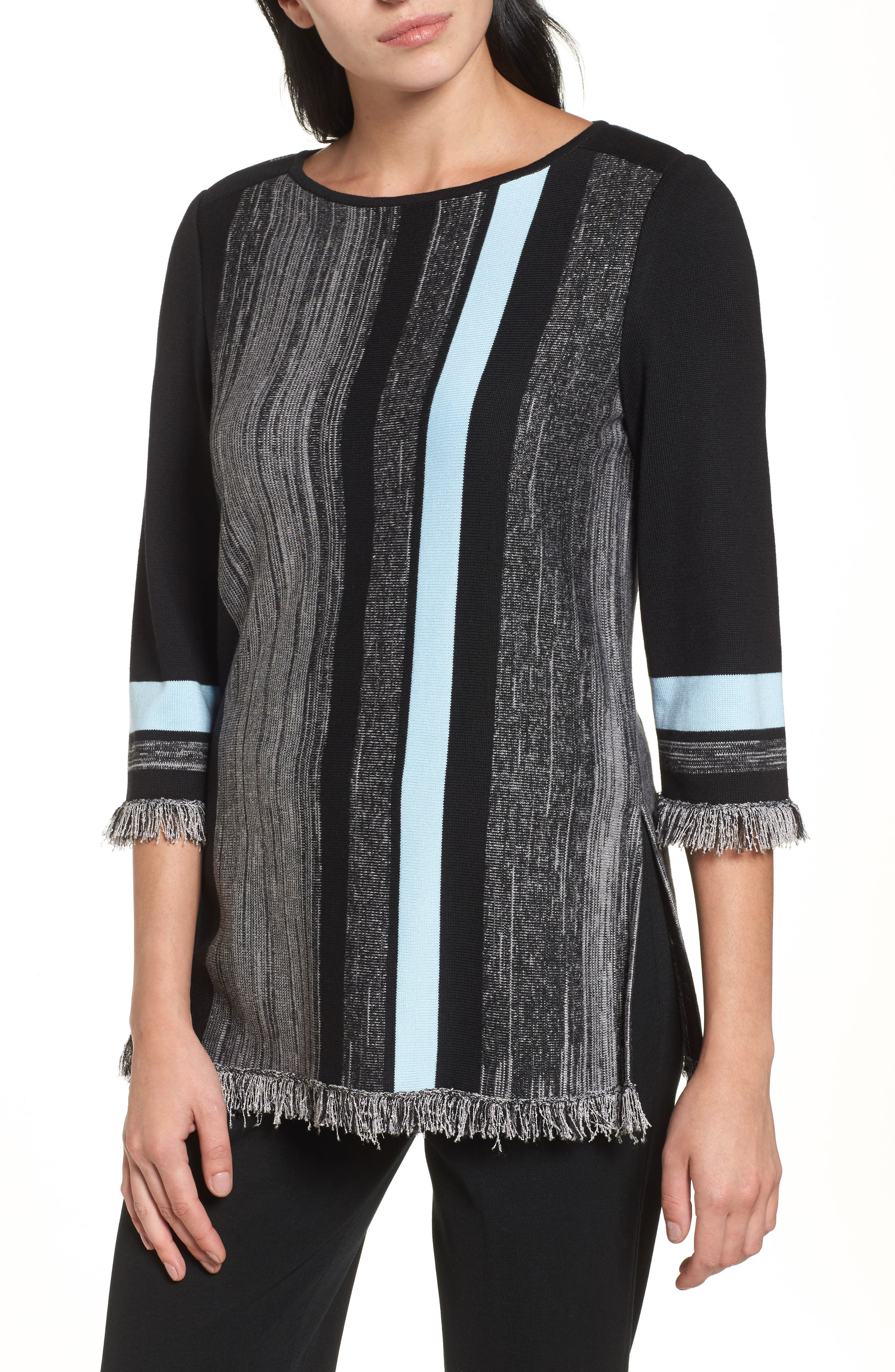 Fringe Trim Knit Tunic,                         Main,                         color, Black/ Dawn/ Sterling