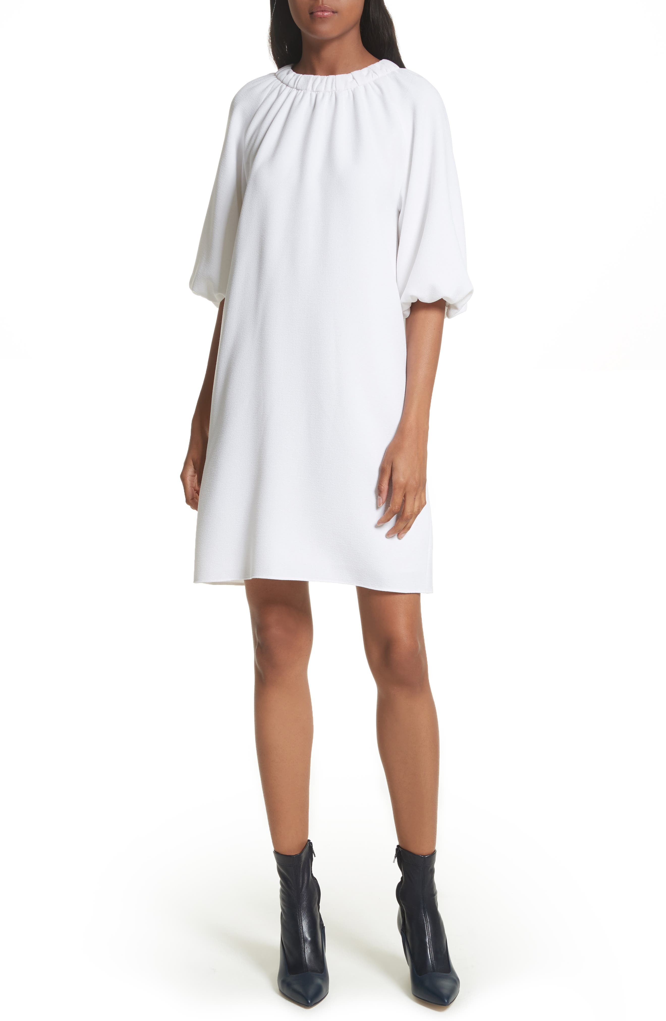Shirred Neck Mica Crepe Shift Dress,                         Main,                         color, White