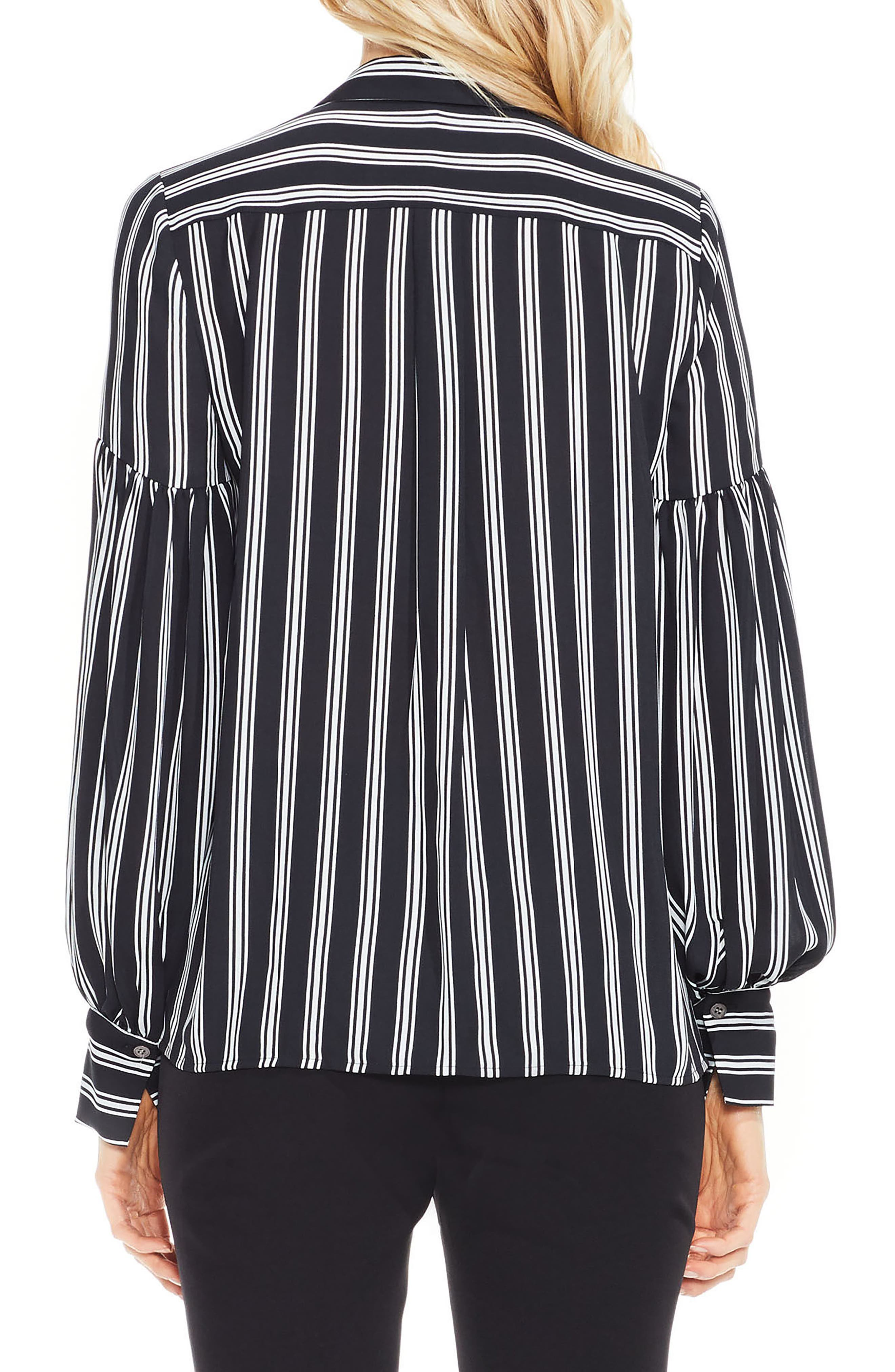 Stripe Puff Sleeve Blouse,                             Alternate thumbnail 2, color,                             Rich Black
