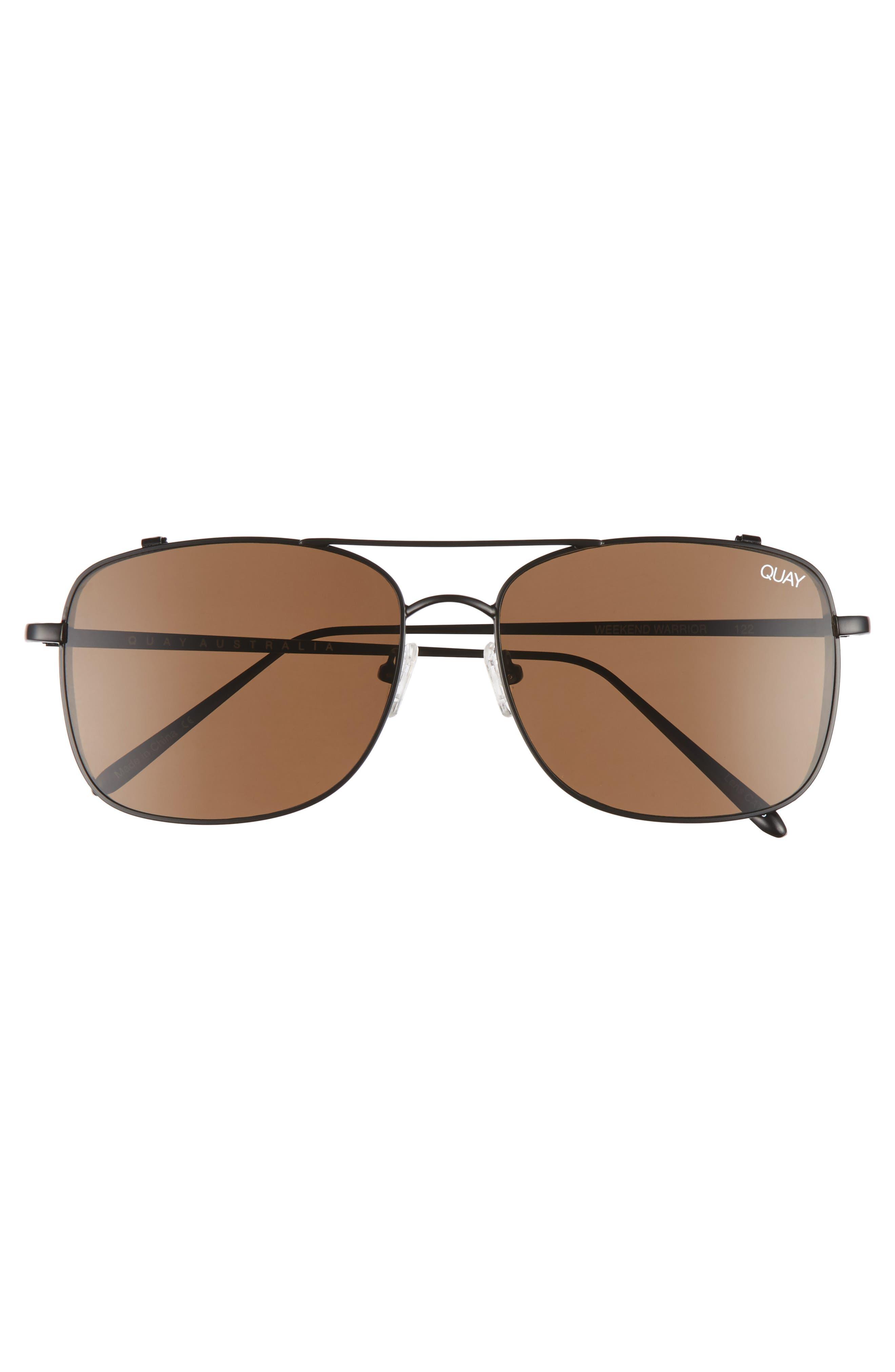 Weekend Warrior 60mm Navigator Sunglasses,                             Alternate thumbnail 2, color,                             Black/ Brown