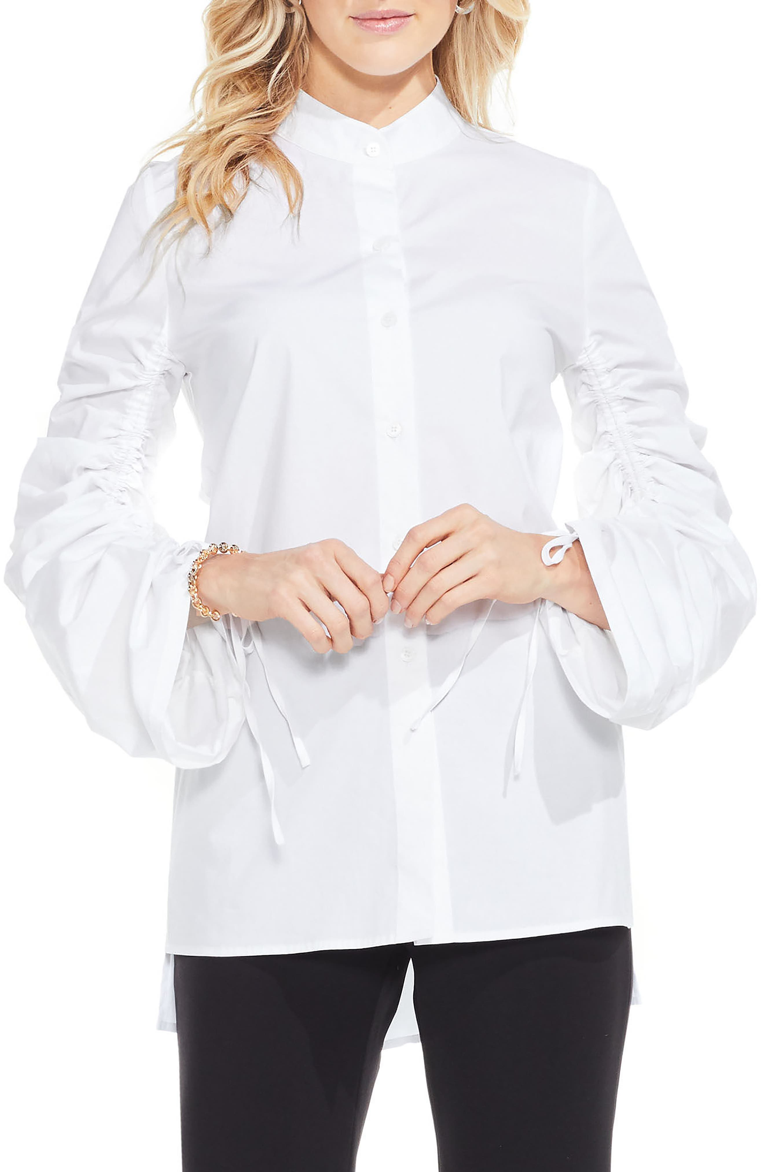 Ruched Sleeve Shirt,                         Main,                         color, Ultra White