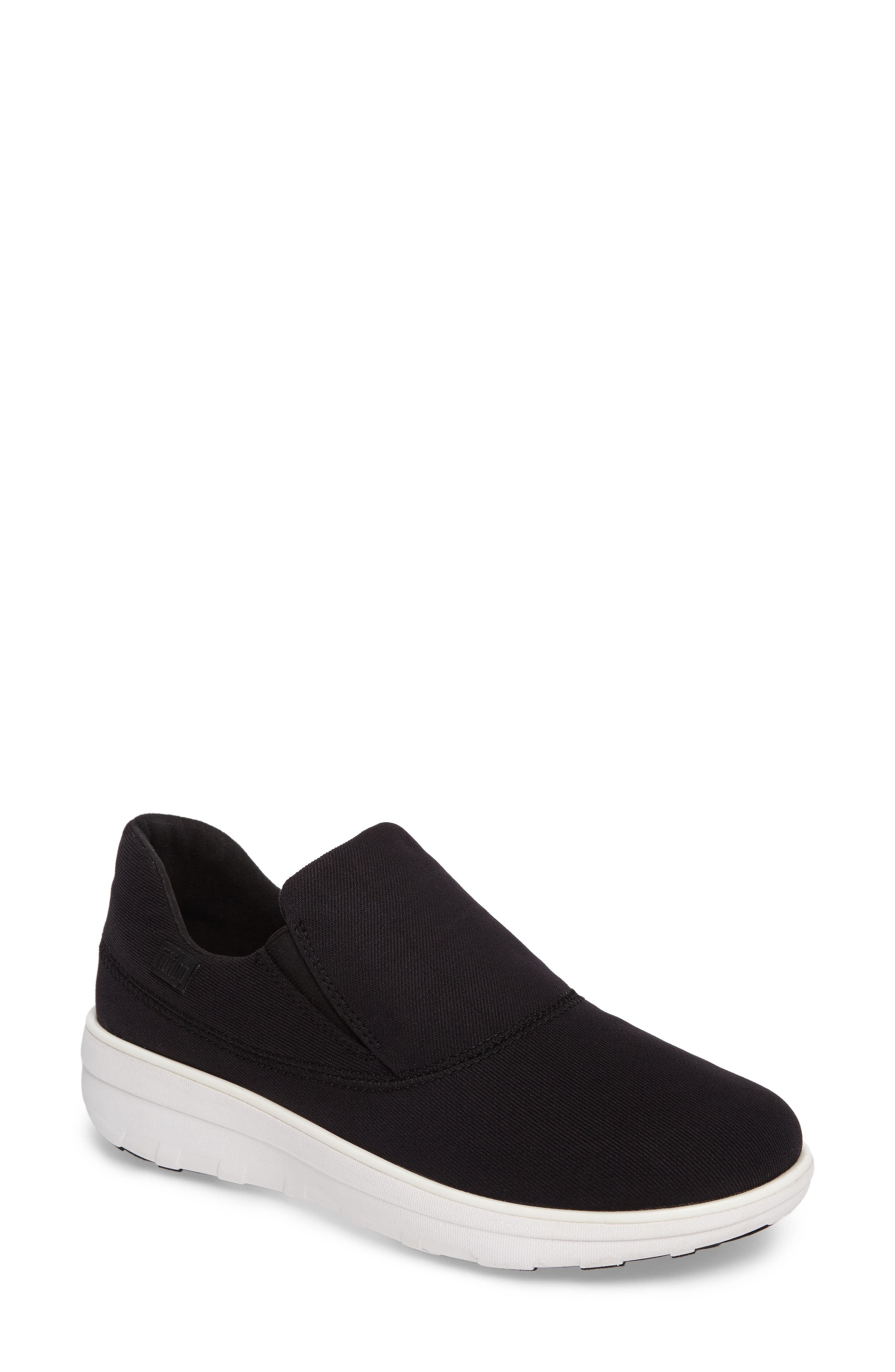 Loaff Platform Slip-On Sneaker,                             Main thumbnail 1, color,                             Black Fabric
