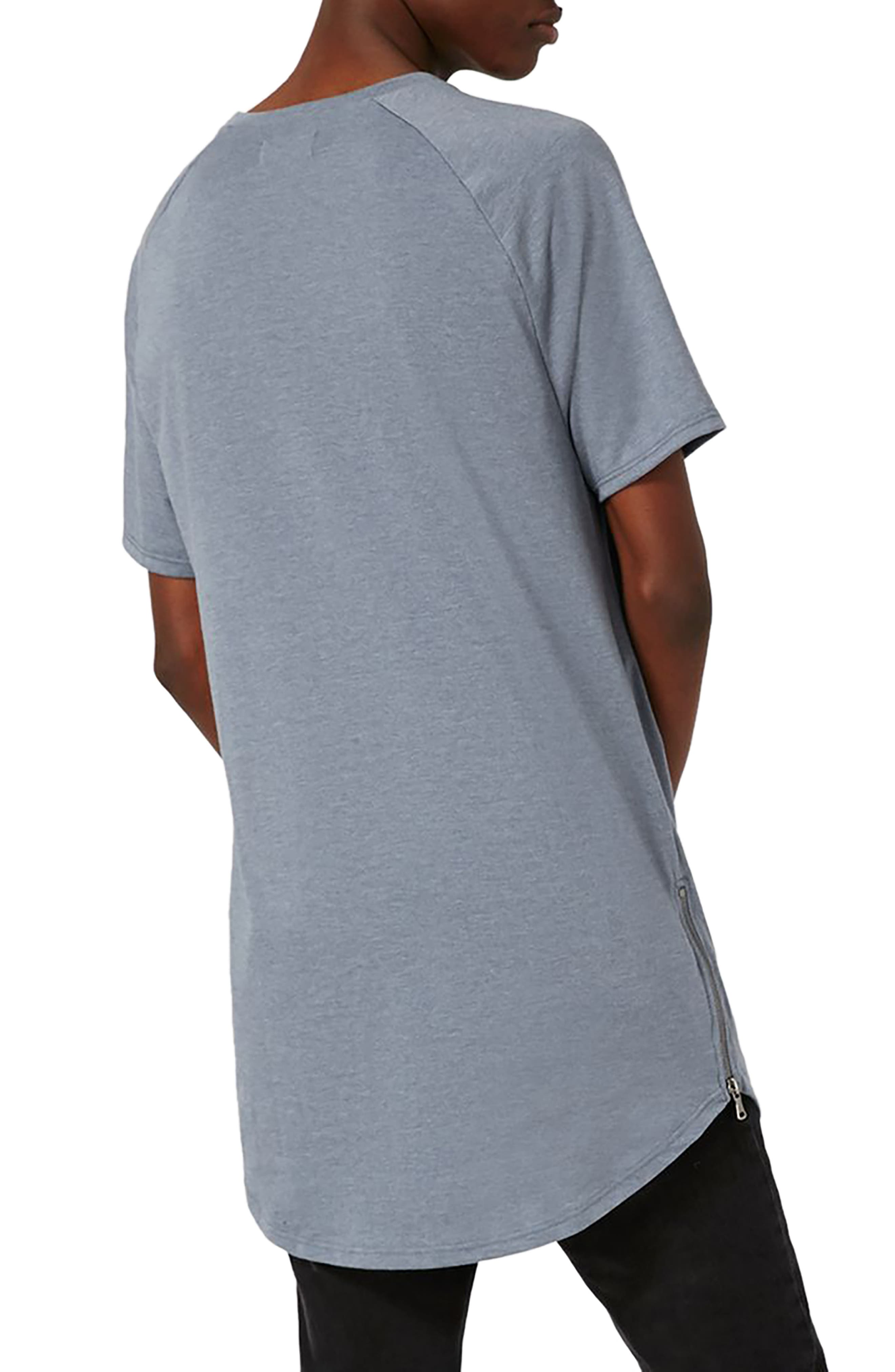 Longline T-Shirt with Side Zips,                             Alternate thumbnail 2, color,                             Mid Blue