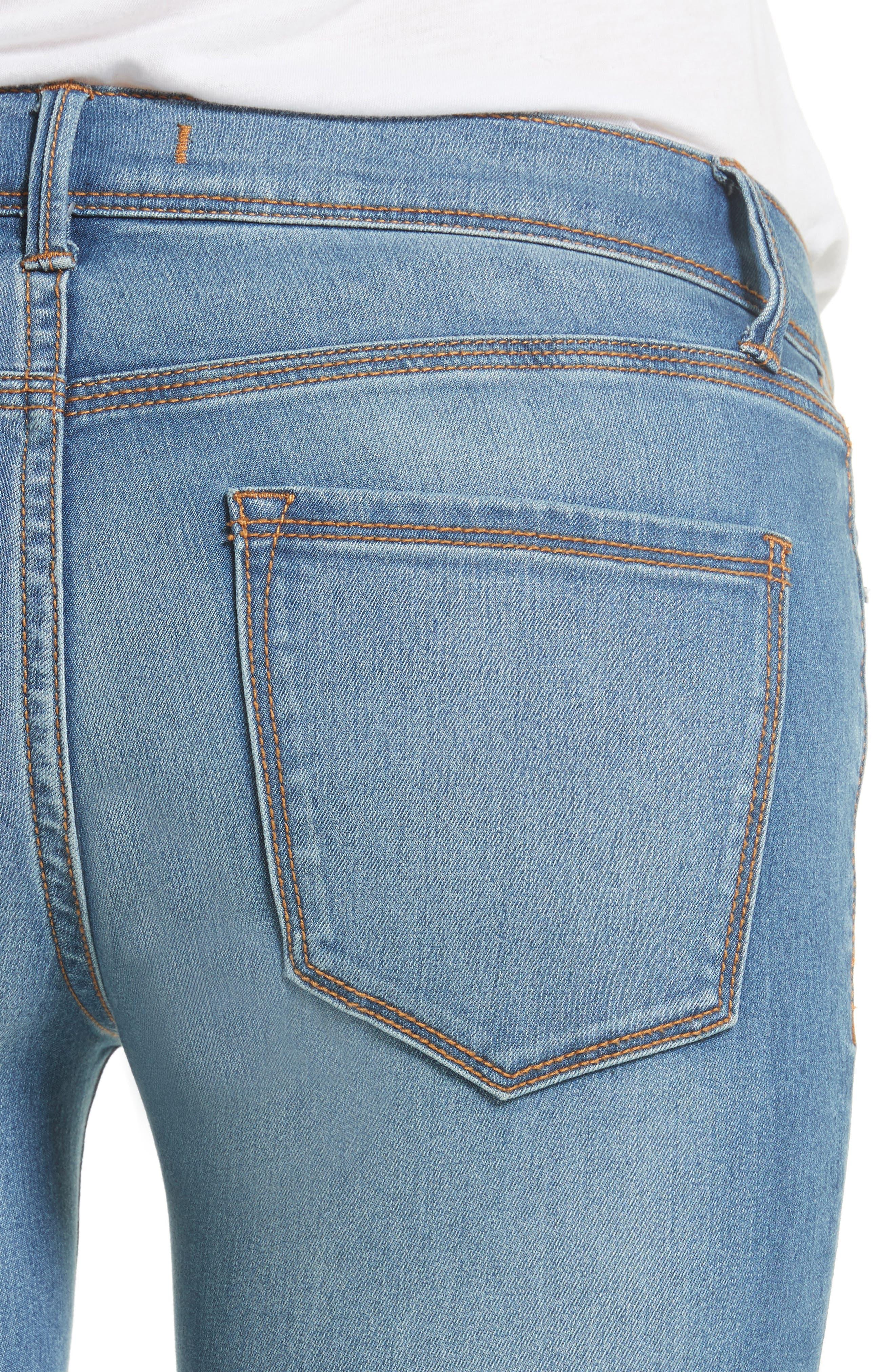 Gummy High Waist Jeans,                             Alternate thumbnail 4, color,                             Light Denim
