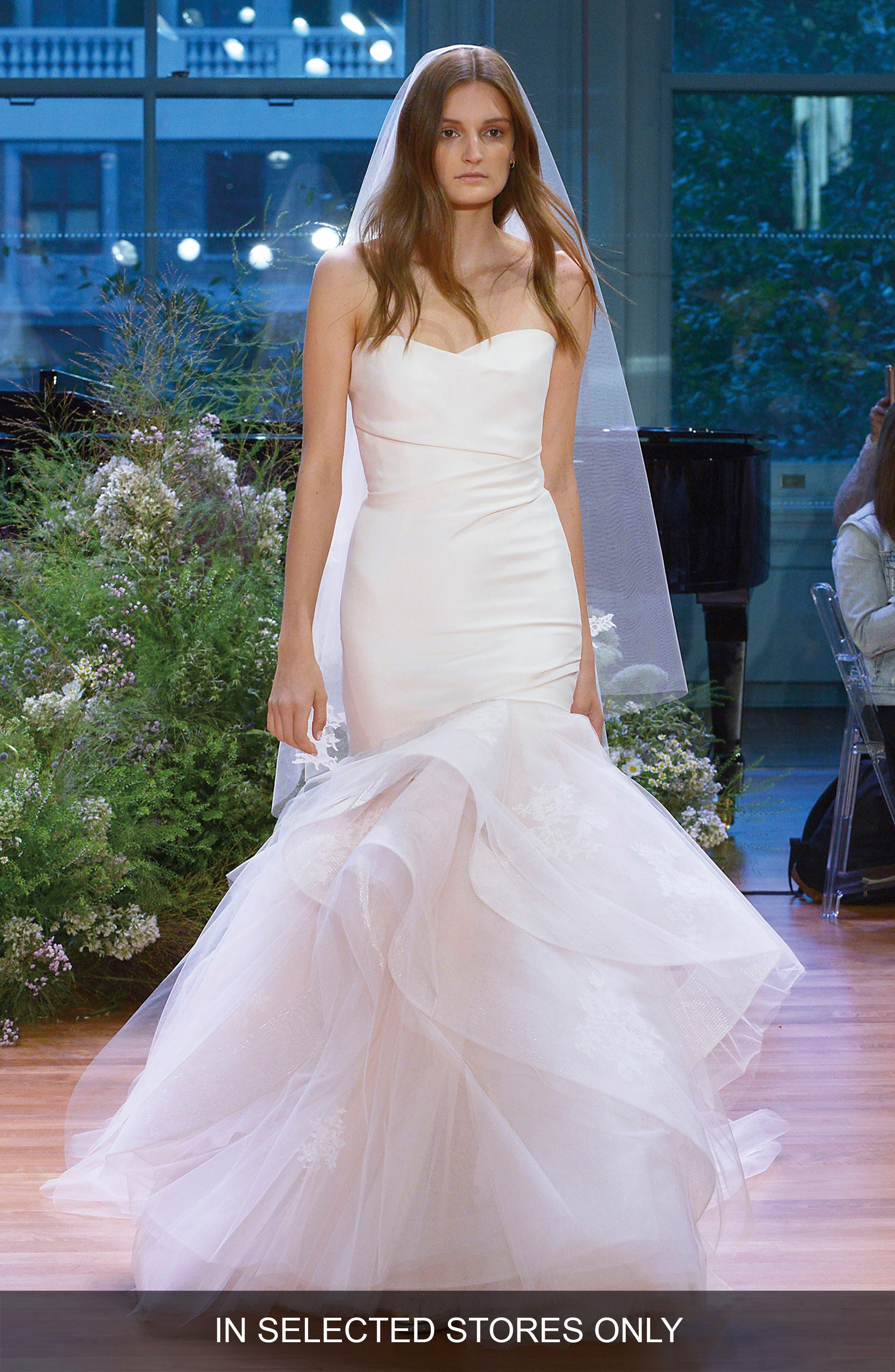 Main Image - Monique Lhuillier Hailee Strapless Silk Gazar Fit & Flare Gown