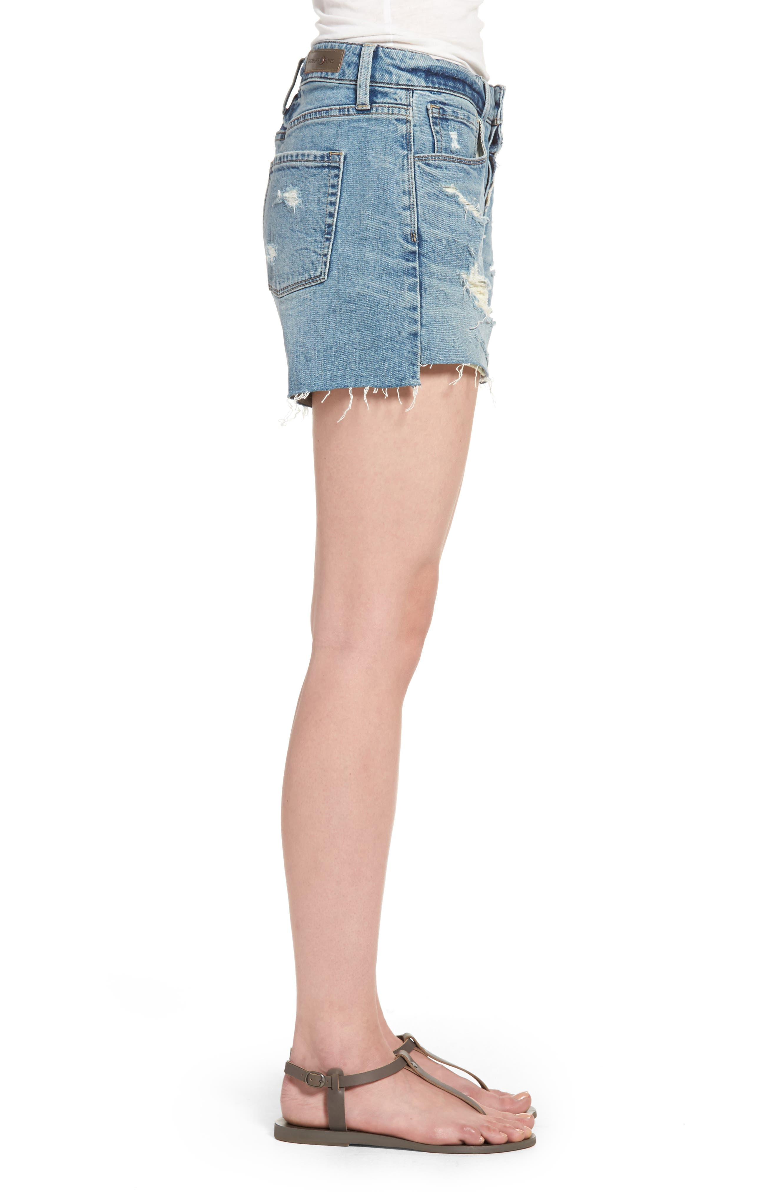 Alternate Image 3  - Treasure & Bond High Waist Boyfriend Cutoff Denim Shorts (Gravel Medium Vintage)