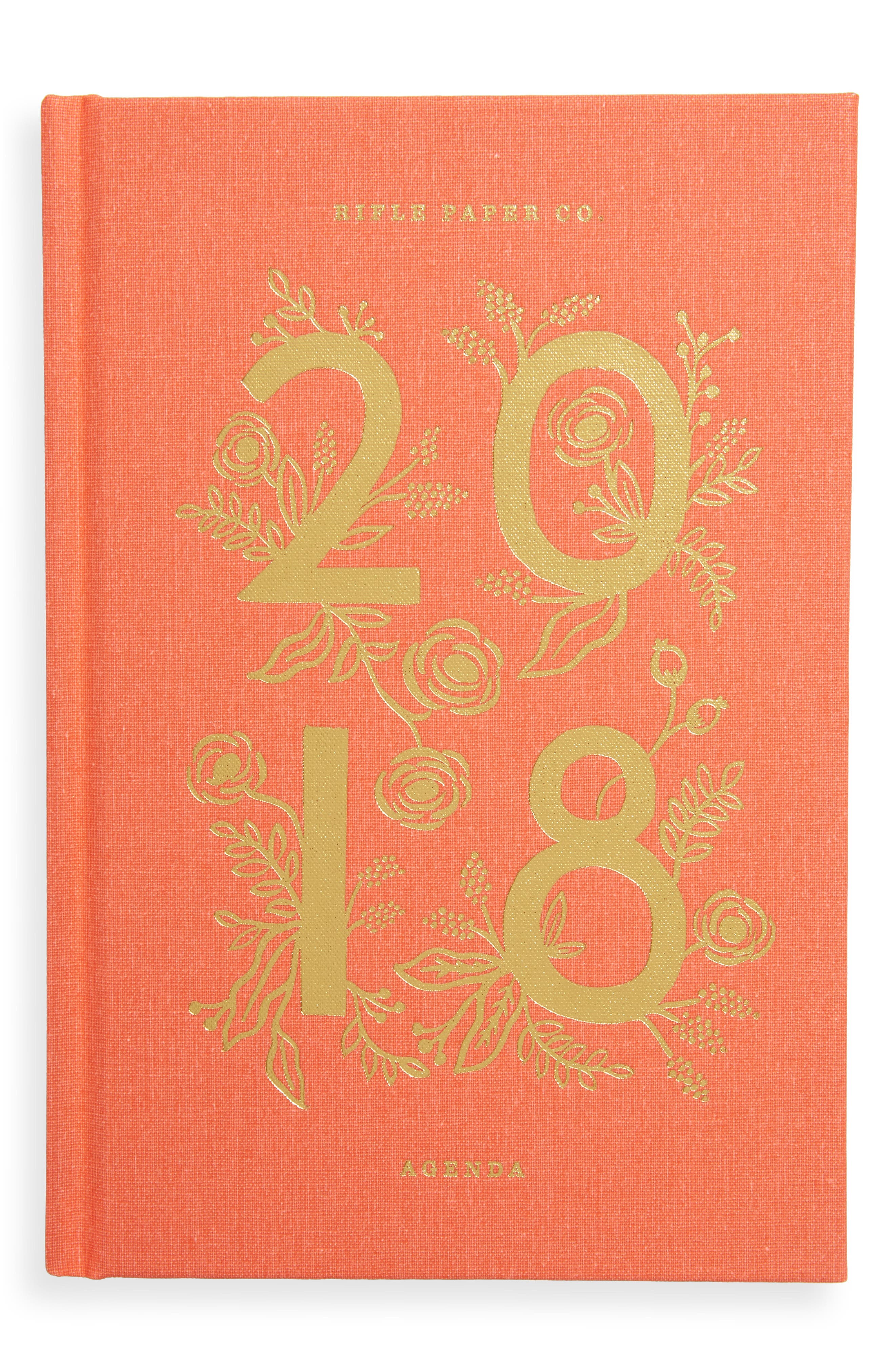 2018 Coral Tabbed Agenda,                         Main,                         color, Red