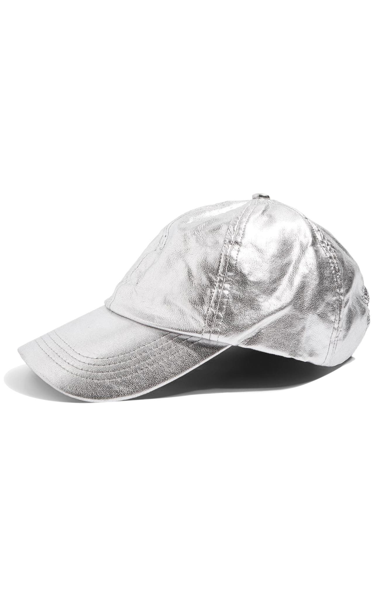 Topshop Metallic Faux Leather Cap