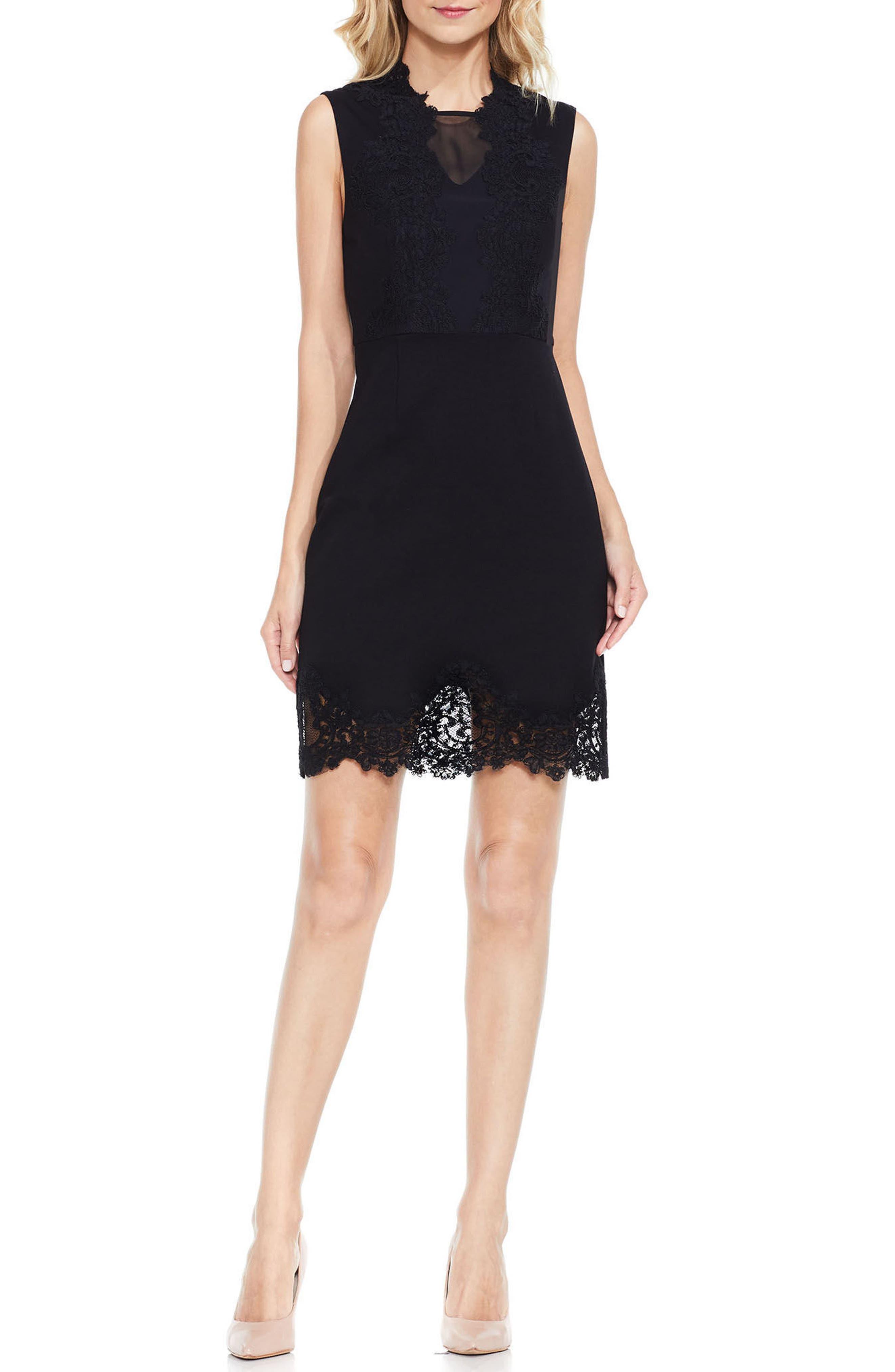 Lace Trim Sheath Dress,                         Main,                         color, Rich Black